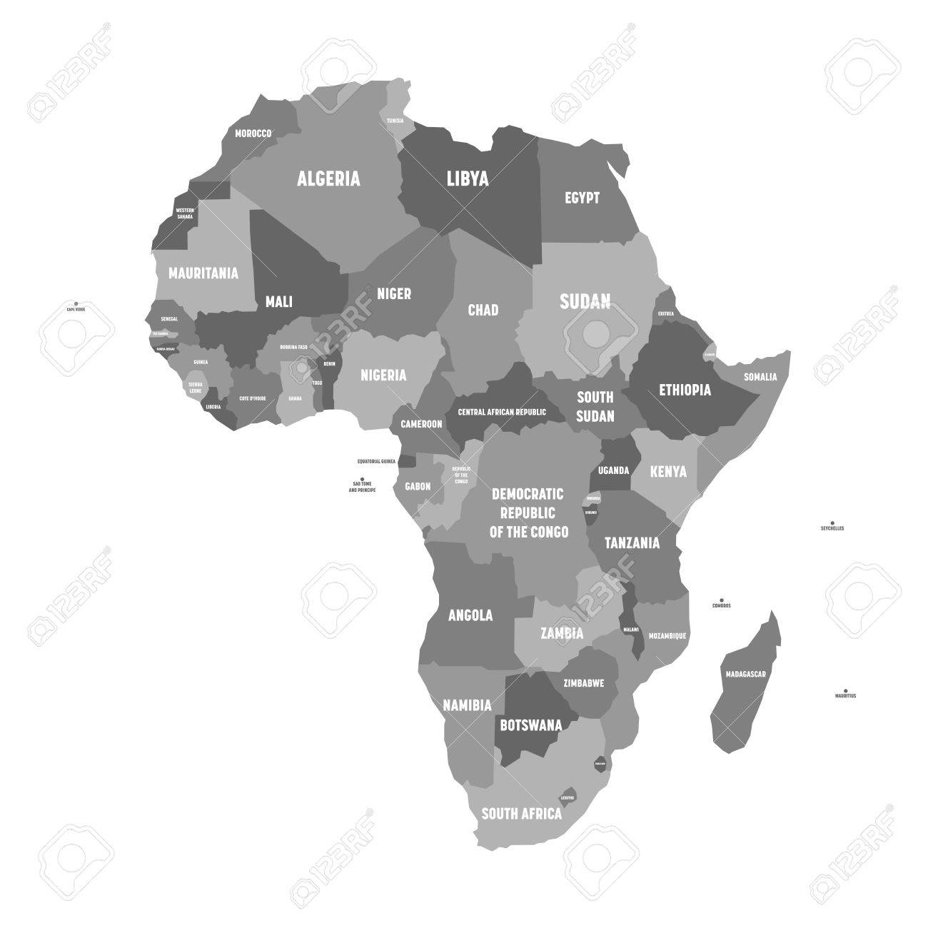 Cartina Dell Africa In Bianco E Nero.Immagini Stock Mappa Politica Dell Africa In Quattro Tonalita Di Grigio Con Etichette Di Nome Paese Bianco Su Sfondo Bianco Illustrazione Vettoriale Image 81149785