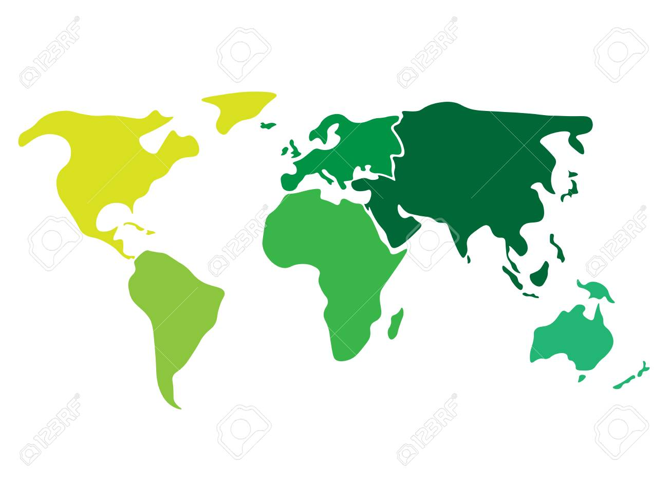 Multicolored World Map Divided To Six Continents In Different