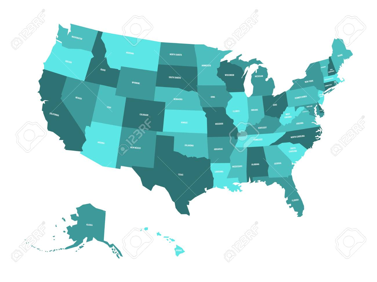 Map Of United States Of America Usa In Four Shades Of Turquoise