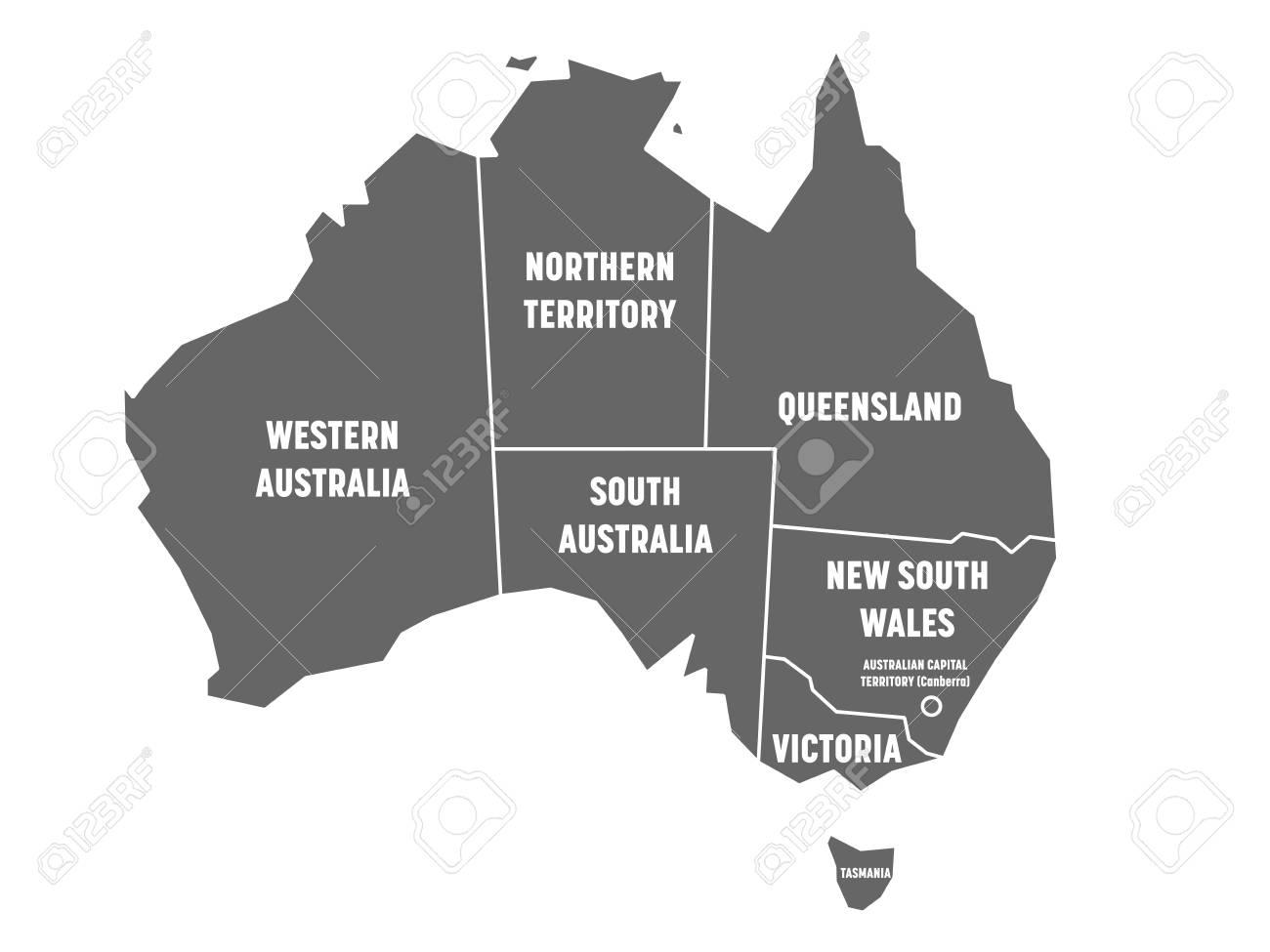 Australia Map States And Territories.Simplified Map Of Australia Divided Into States And Territories