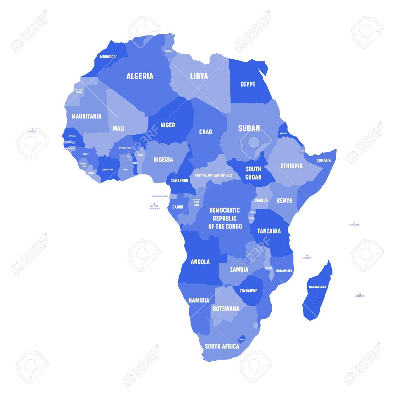 Africa Politica Cartina In Italiano.Mappa Politica Dell Africa In Quattro Tonalita Di Verde Con Etichette Di Nome Paese Bianco Su Sfondo Bianco Illustrazione Vettoriale