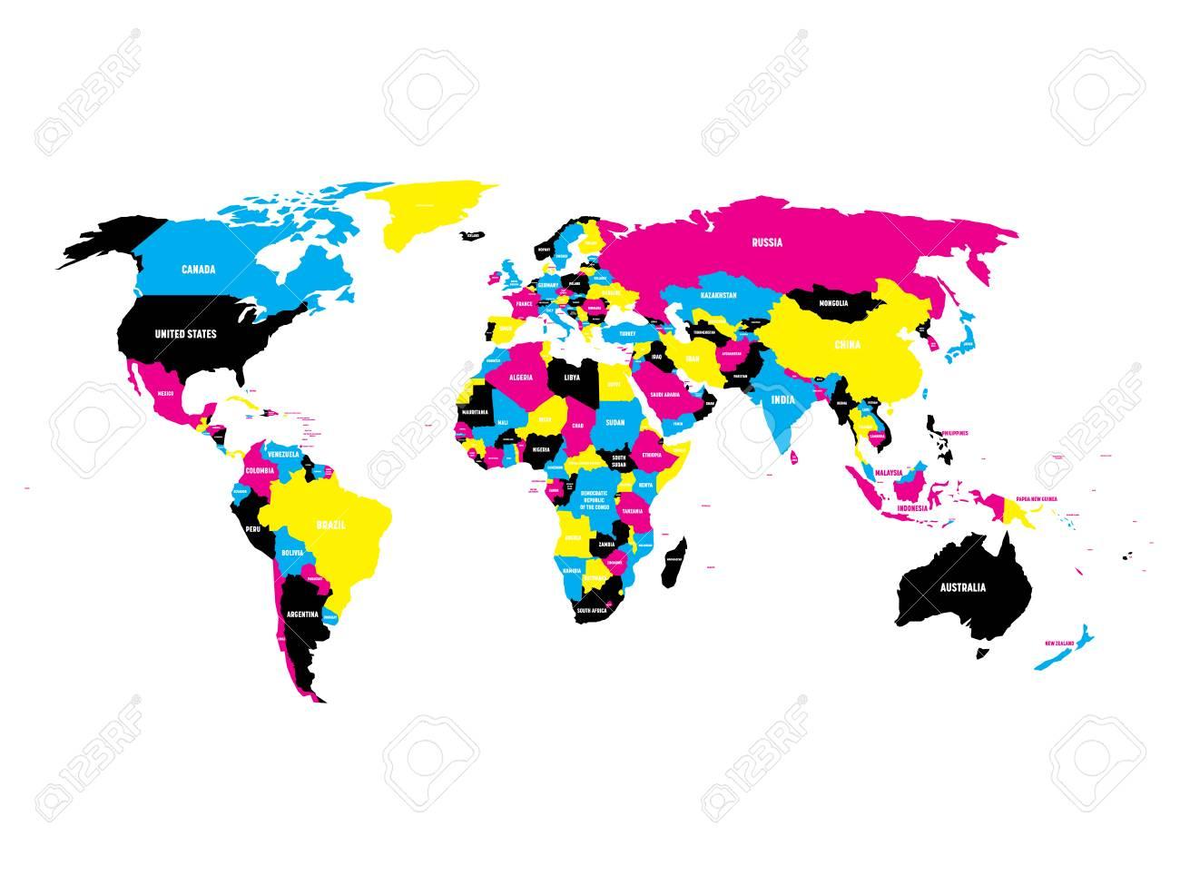 Mapa Politico Del Mundo Con Nombres.Mapa Politico Del Mundo En Colores Cmyk Con Etiquetas De Nombres De Paises Aislado En El Fondo Blanco Ilustracion Vectorial