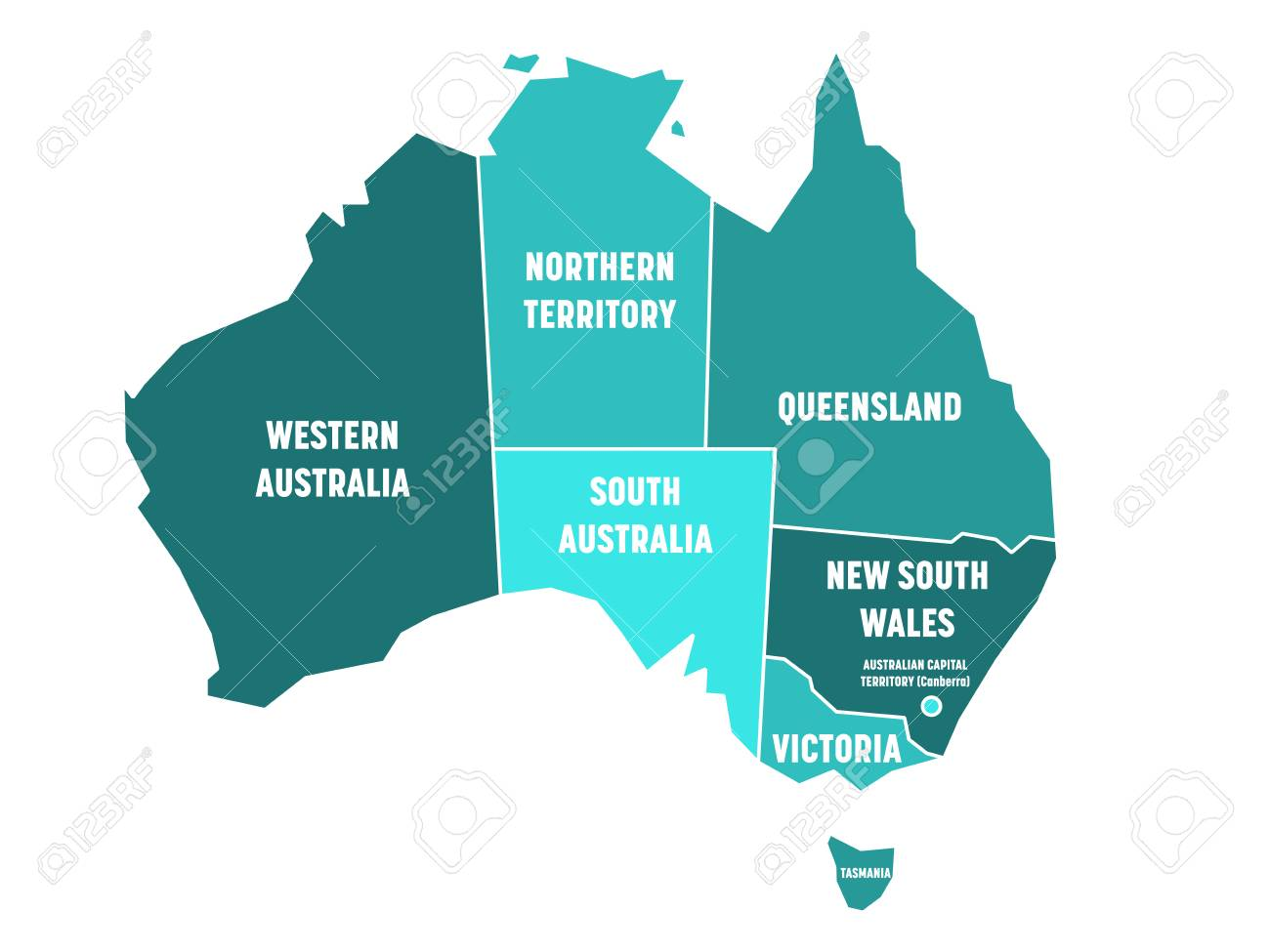 Map Of States Of Australia.Simplified Map Of Australia Divided Into States And Territories