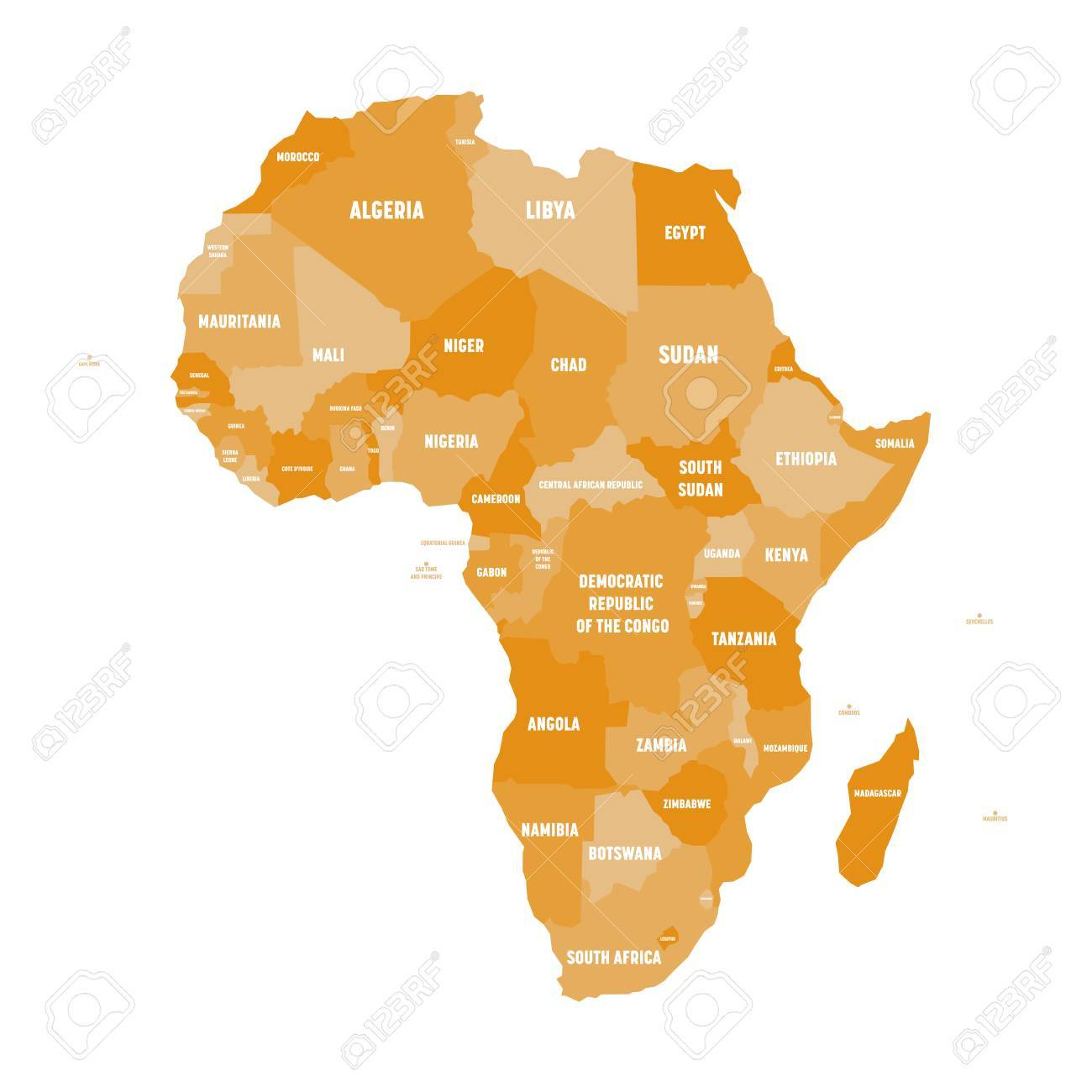 Political Map Of Africa In Four Shades Of Orange With White