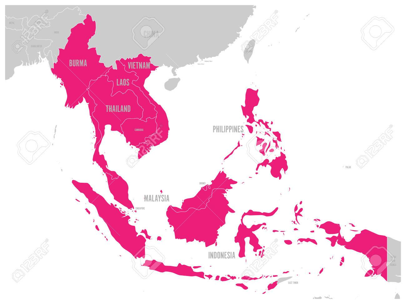 grey map with pink highlighted member countries
