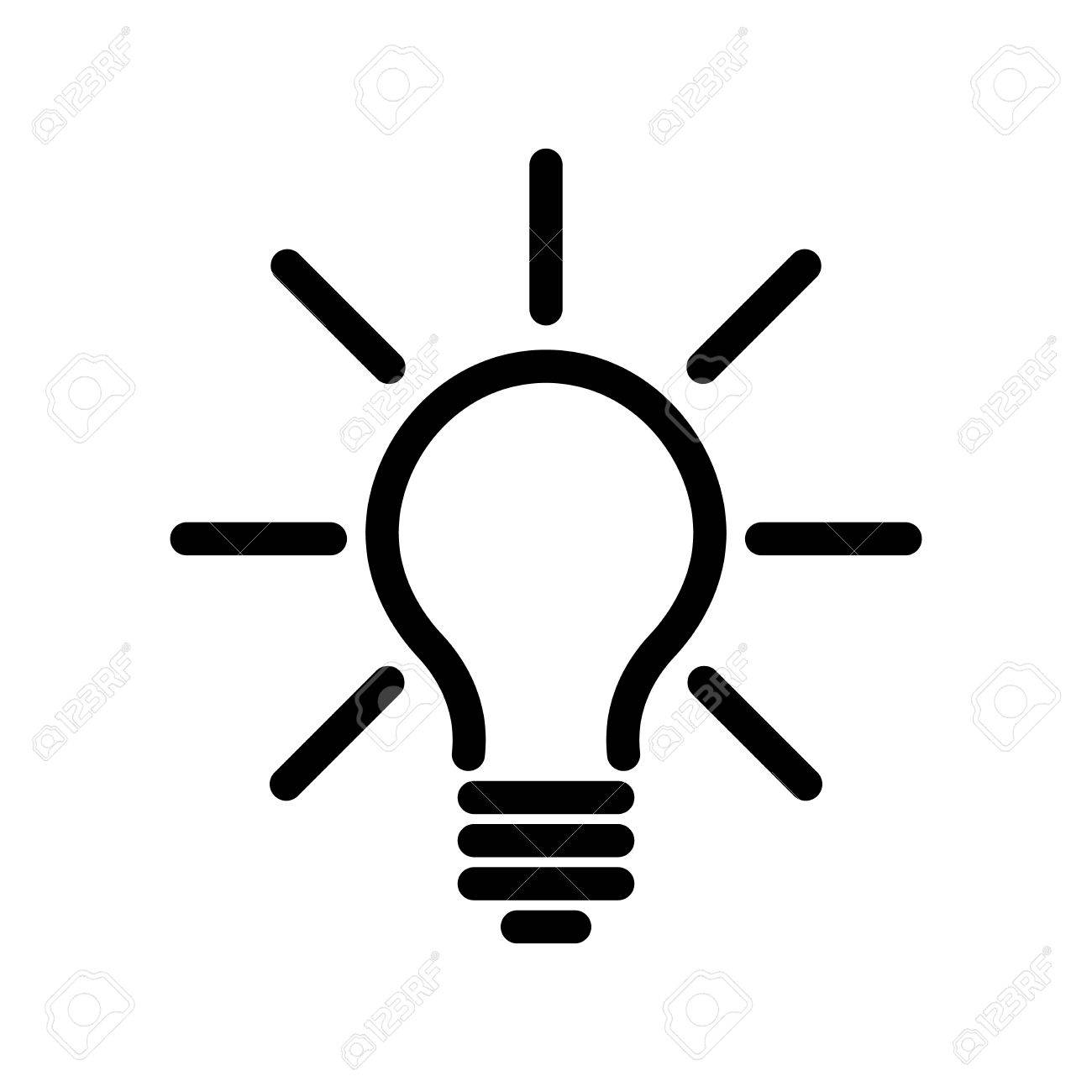 Light Bulb Icon Simple Black Line Symbol Isolated On White Background Idea