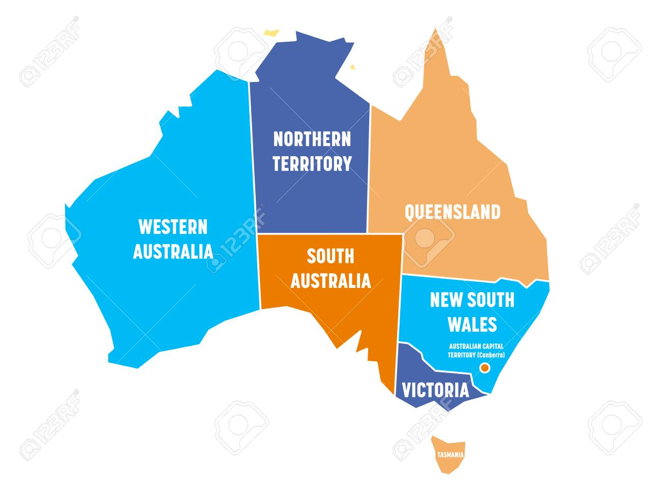 Simplified Map Of Australia Divided Into States And Territories