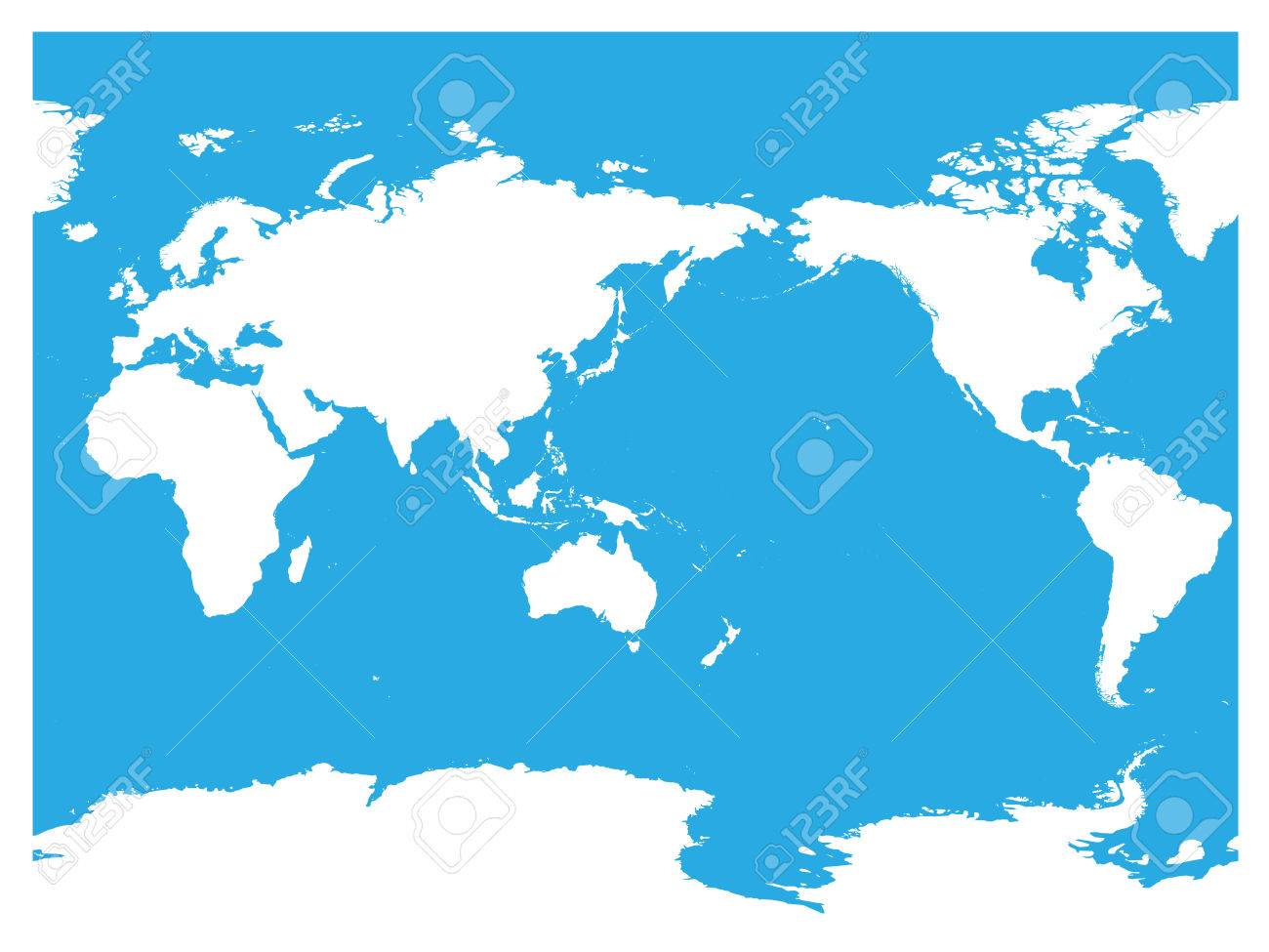 australia and pacific ocean centered world map high detail white silhouette on blue background