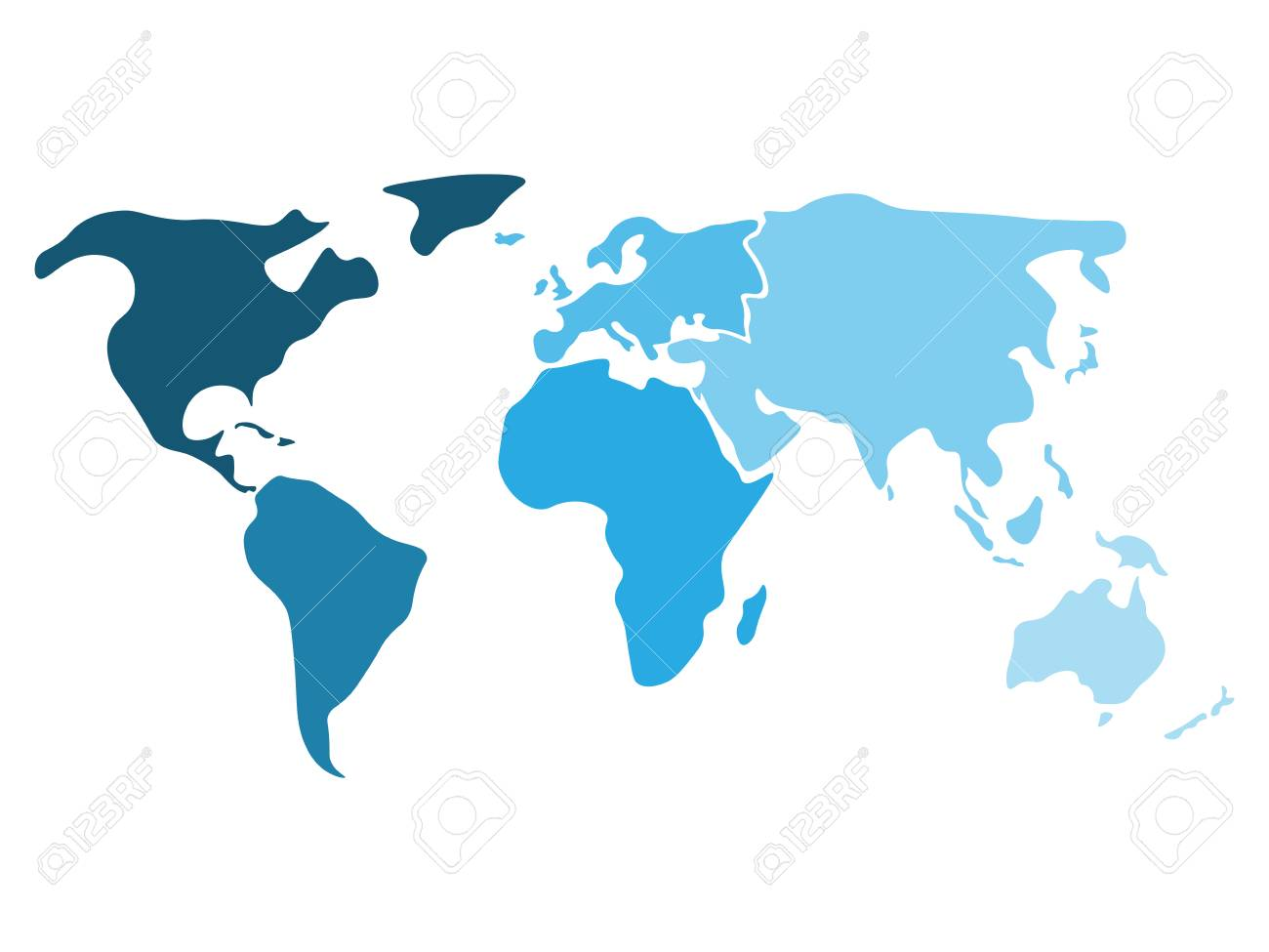 Multicolored world map divided to six continents in different multicolored world map divided to six continents in different shaders of blue north america gumiabroncs Image collections
