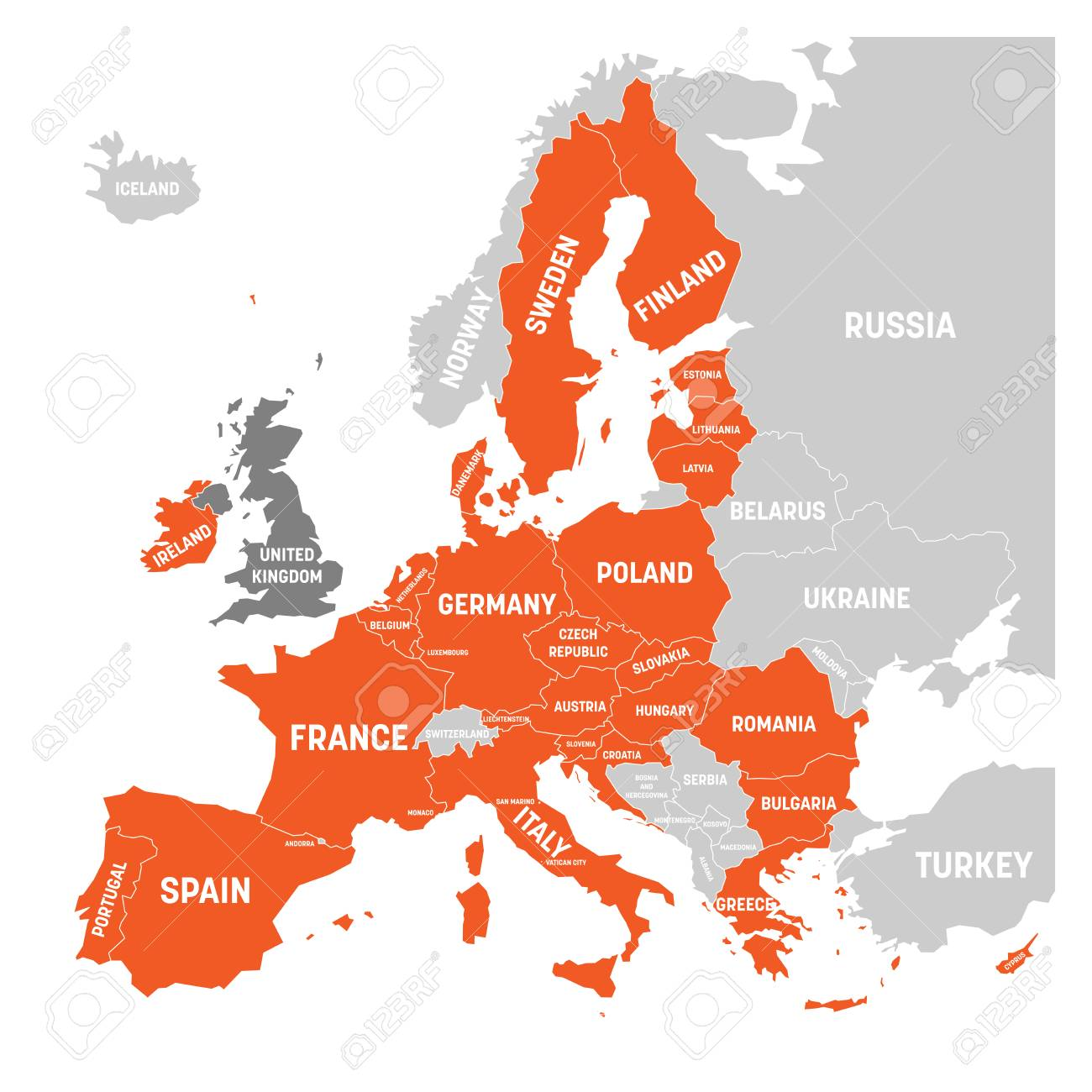 Map of Europe with orange highlighted EU member states and United..