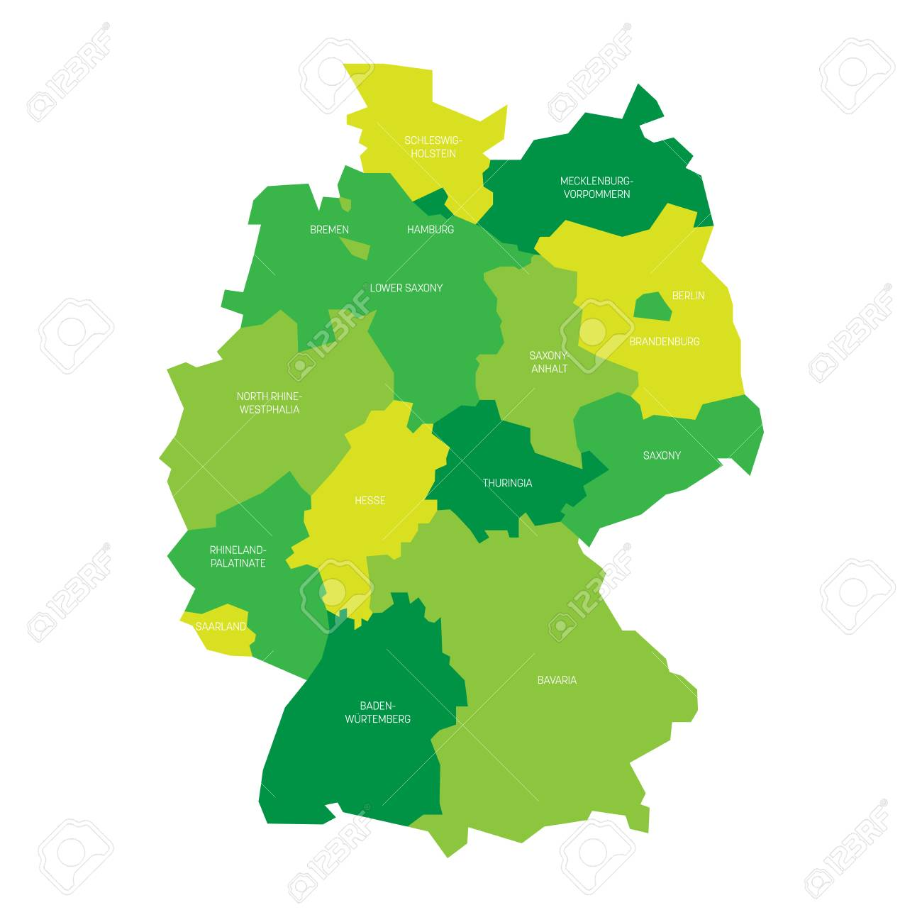 Deutschlandkarte Unterteilt In 13 Bundeslander Und 3 Stadtstaaten