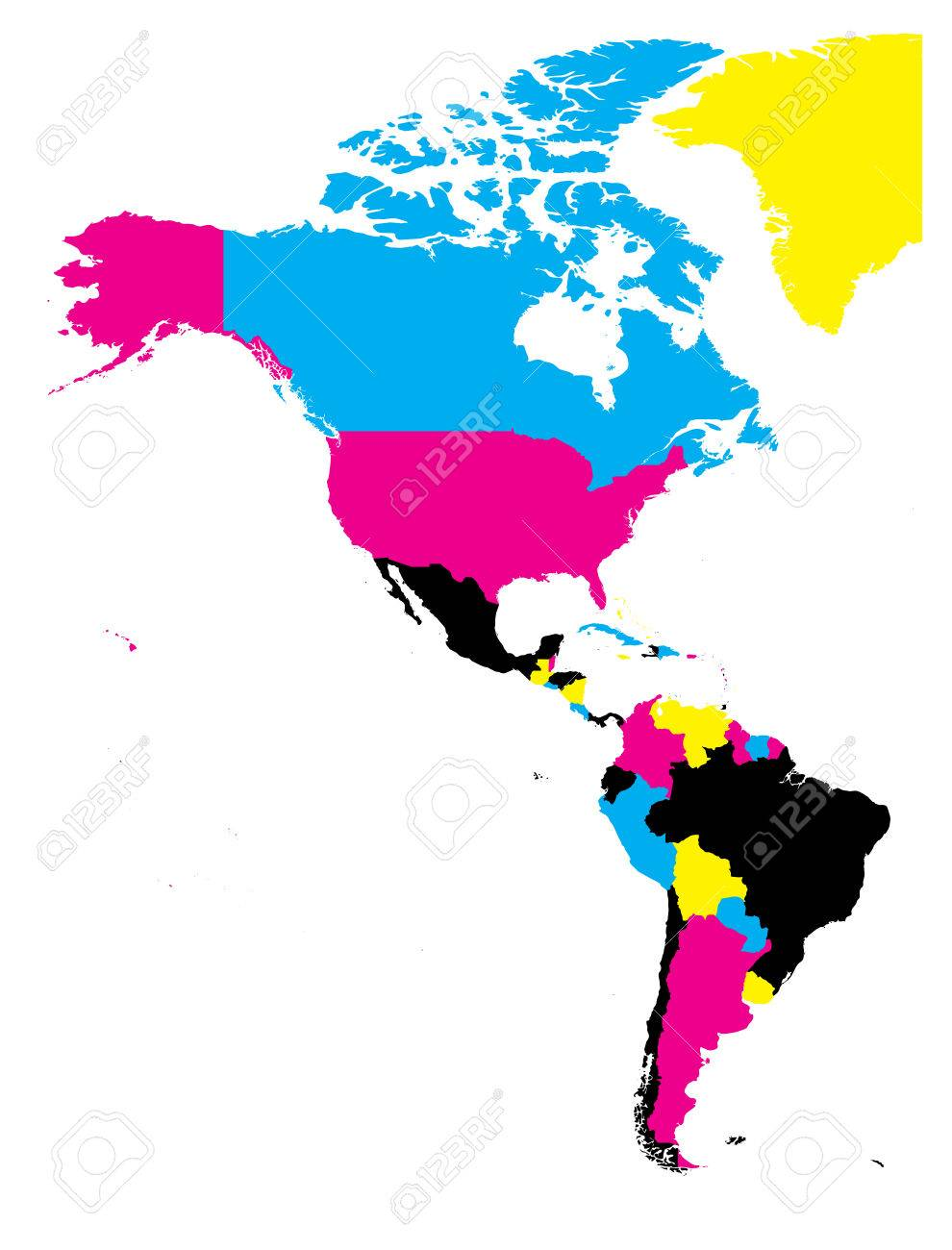 Political Map Of Americas In Cmyk Colors On White Background