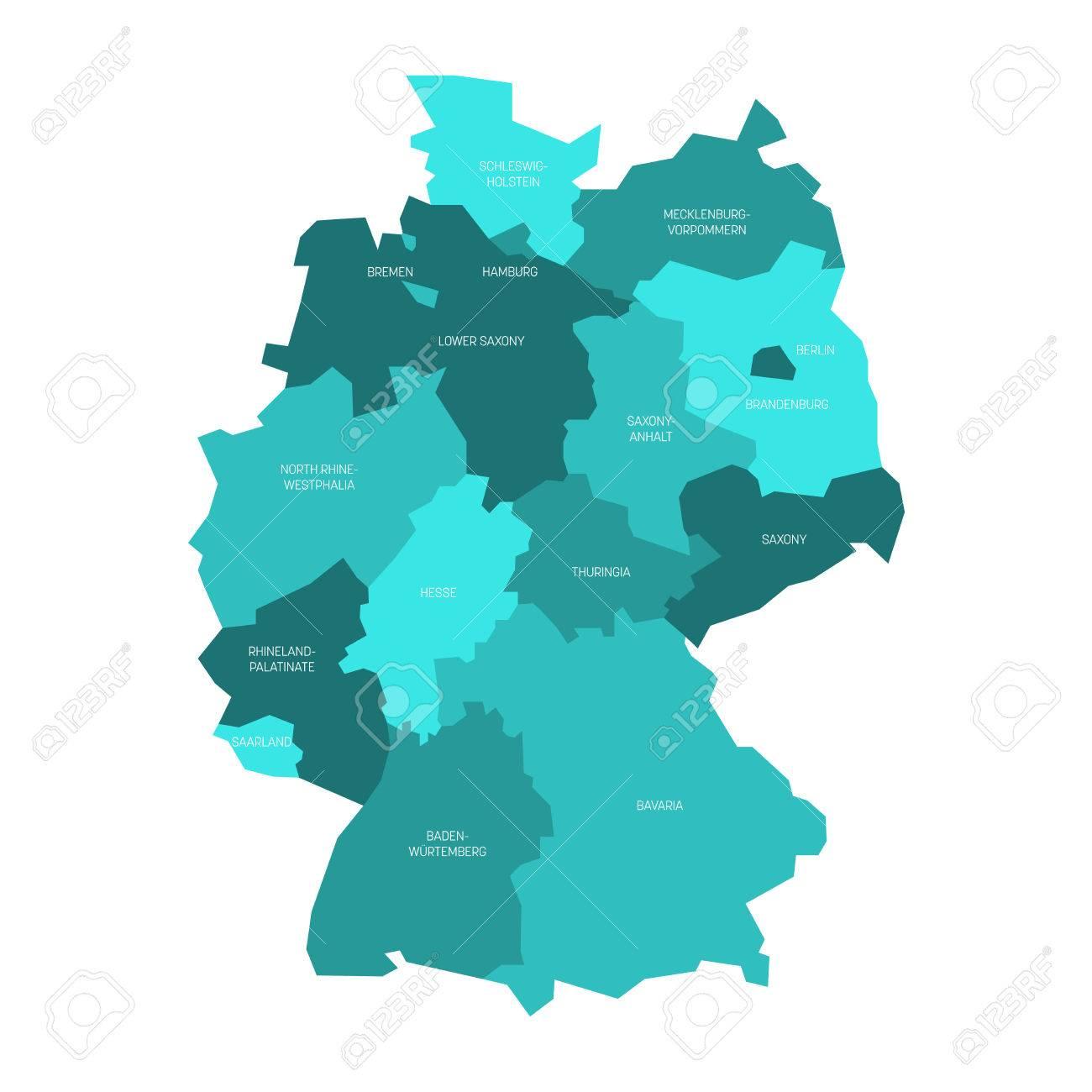 Carte Allemagne Divisee.Carte De L Allemagne Divisee En 13 Etats Federaux Et 3 Cites Etats Berlin Breme Et Hambourg Europe Carte Vectorielle Plane Simple Dans Les Tons
