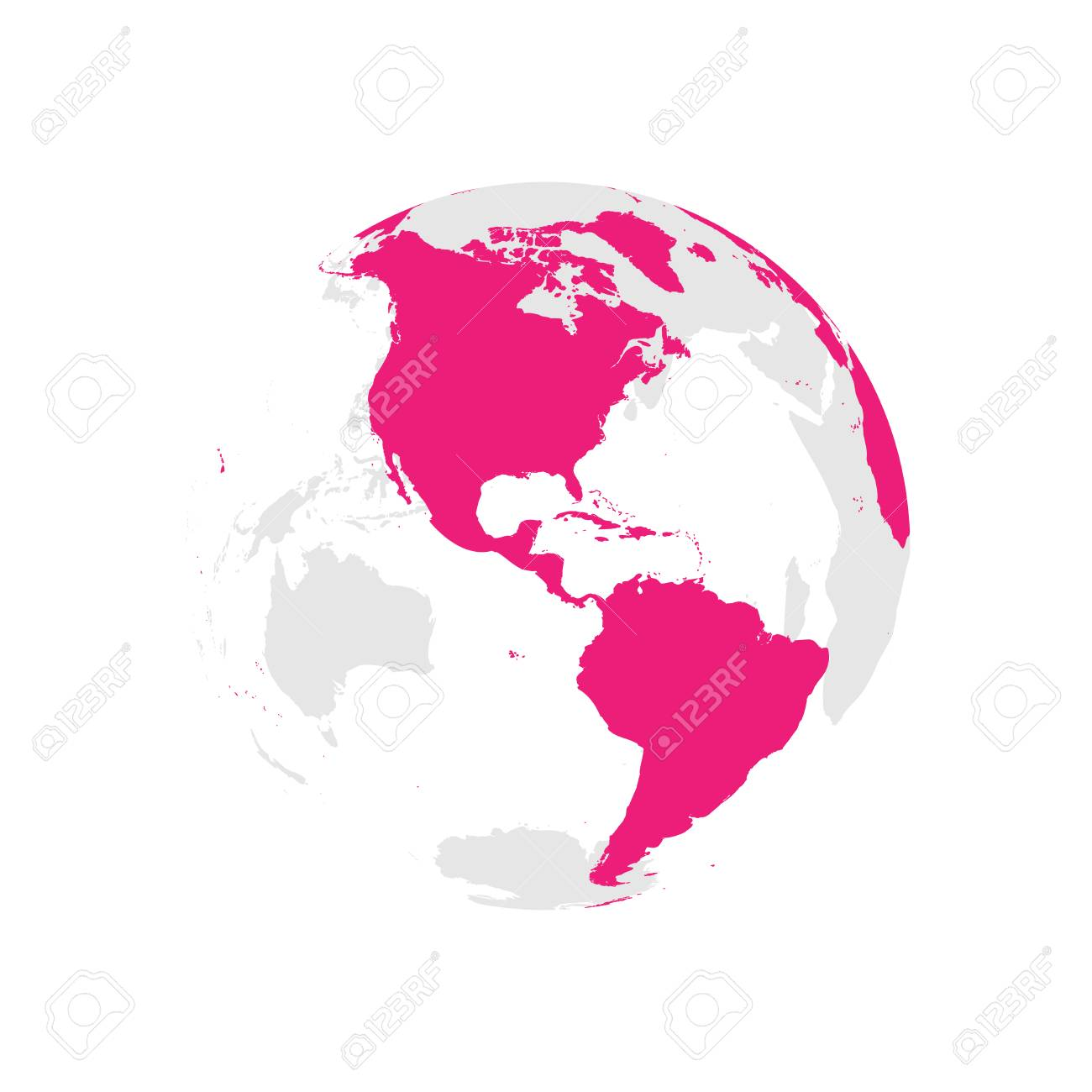 Earth globe with pink world map focused on americas flat vector earth globe with pink world map focused on americas flat vector illustration stock gumiabroncs Choice Image