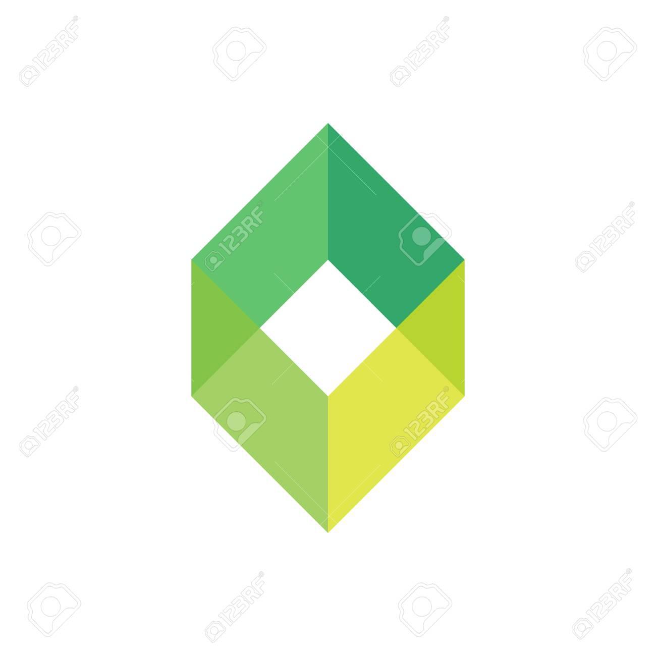 Bien-aimée Modèle De Logo De Boîte Vide Vert. Logotype De Forme Géométrique @ZB_57
