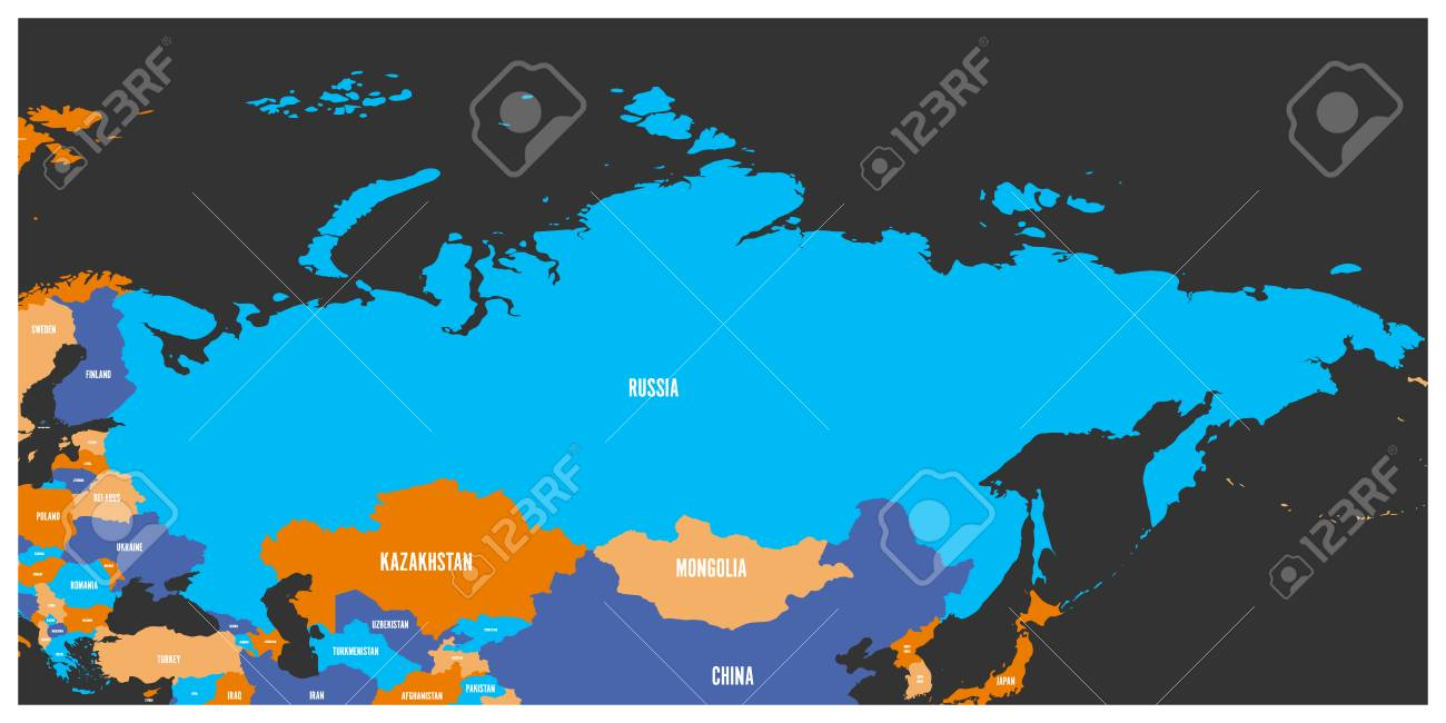Political map of Russia and surrounding European and Asian countries...