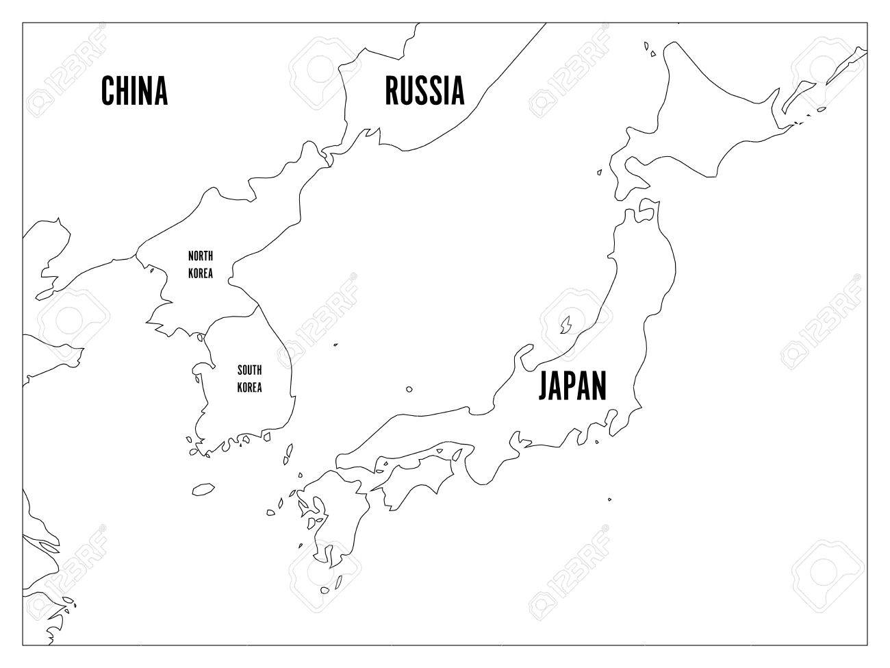 Political map of Korean and Japanese region, South Korea, North..