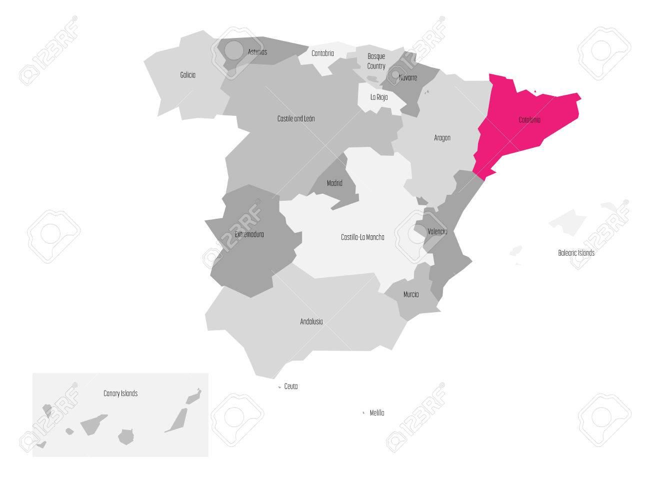 Cartina Spagna Catalogna.Vettoriale Mappa Della Spagna Suddivisa In 17 Comunita Autonome Amministrative Con Regione Della Catalogna Rosa Evidenziata Mappa Vettoriale Semplice Piatta In Tonalita Di Grigio Image 87430792