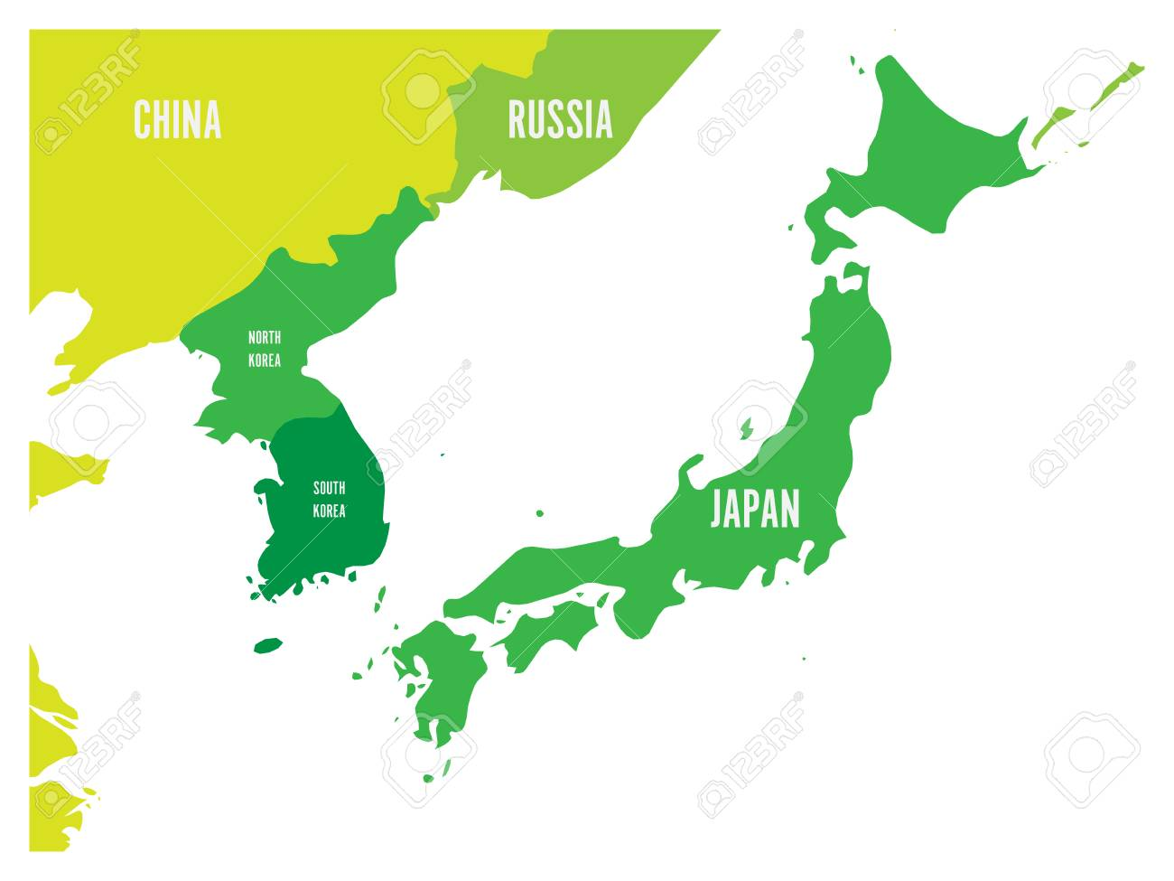 Political Map Of Korean And Japanese Region South Korea North