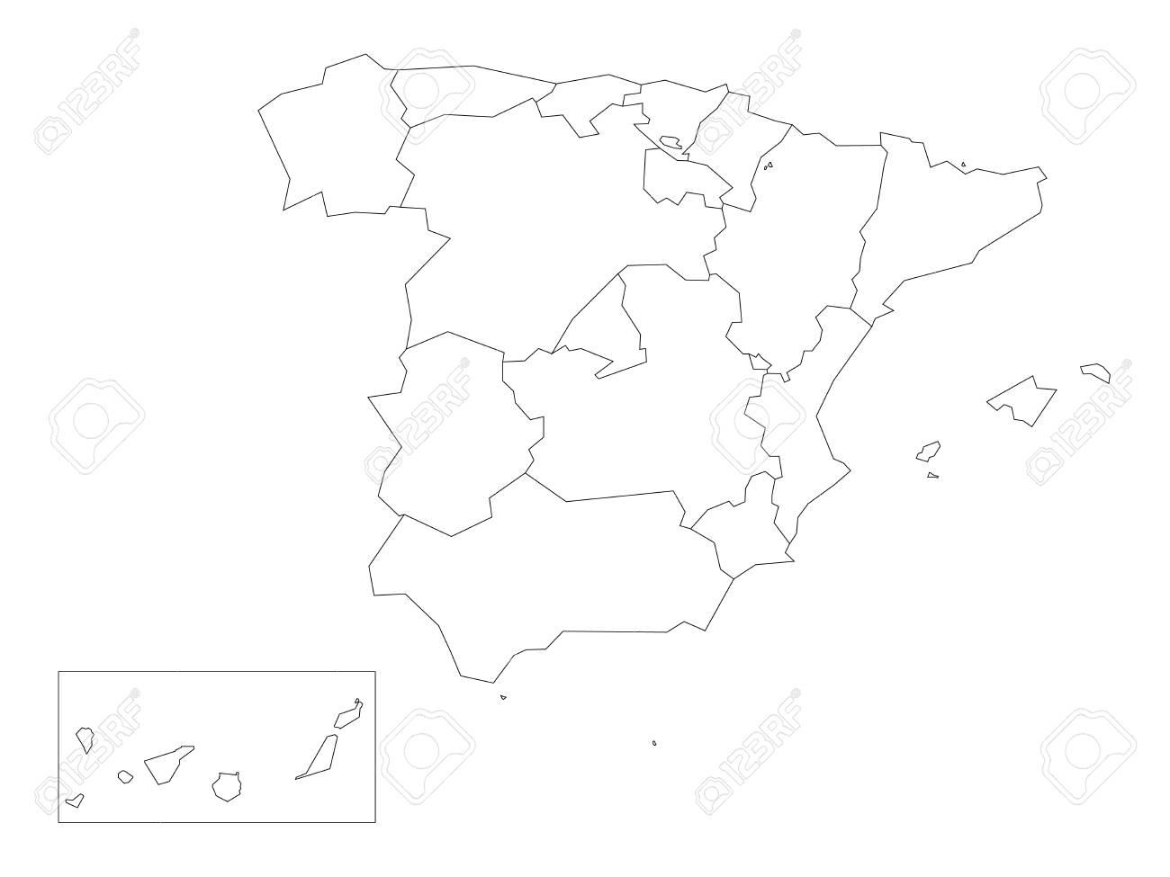 Mapa De Comunidades Autonomas En Blanco.Mapa De Espana Dividido En 17 Comunidades Autonomas Administrativas Esquema Negro Delgado Simple Sobre Fondo Blanco