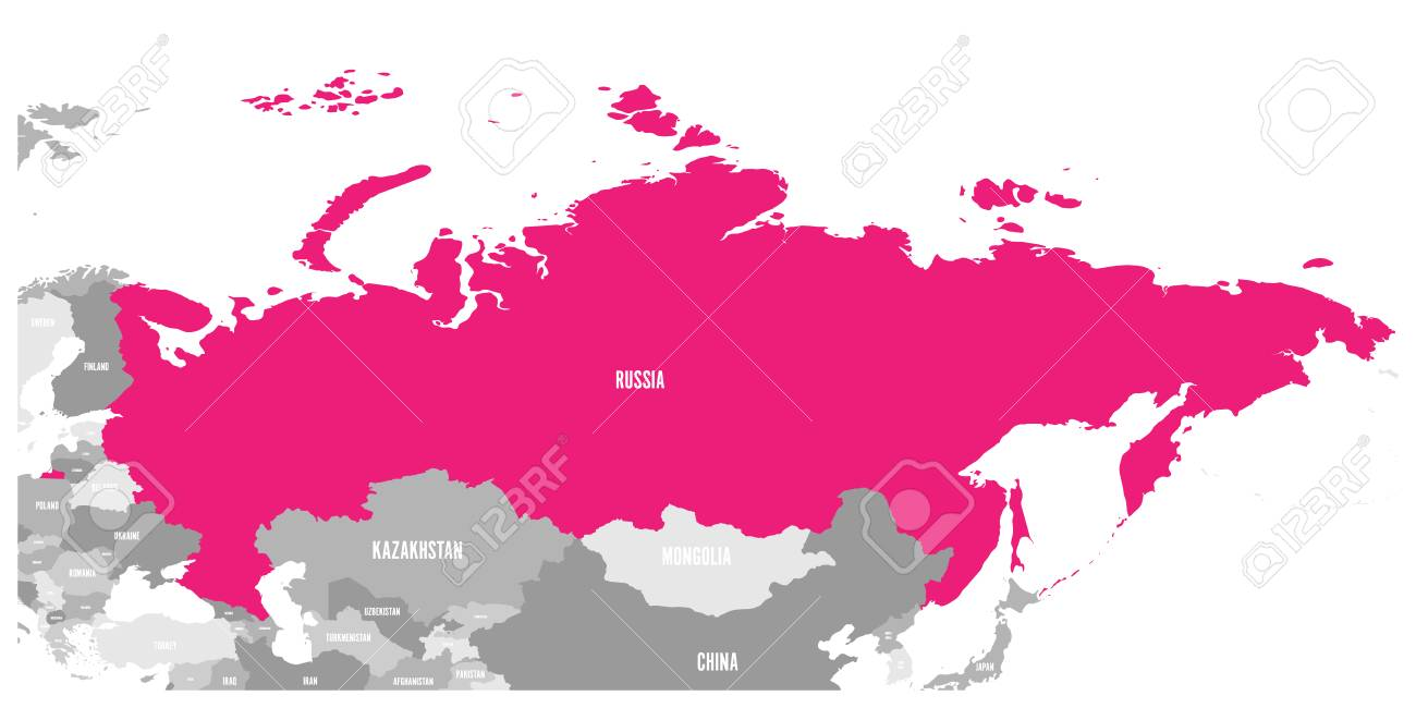 Political map of Russia and surrounding countries highlighted..