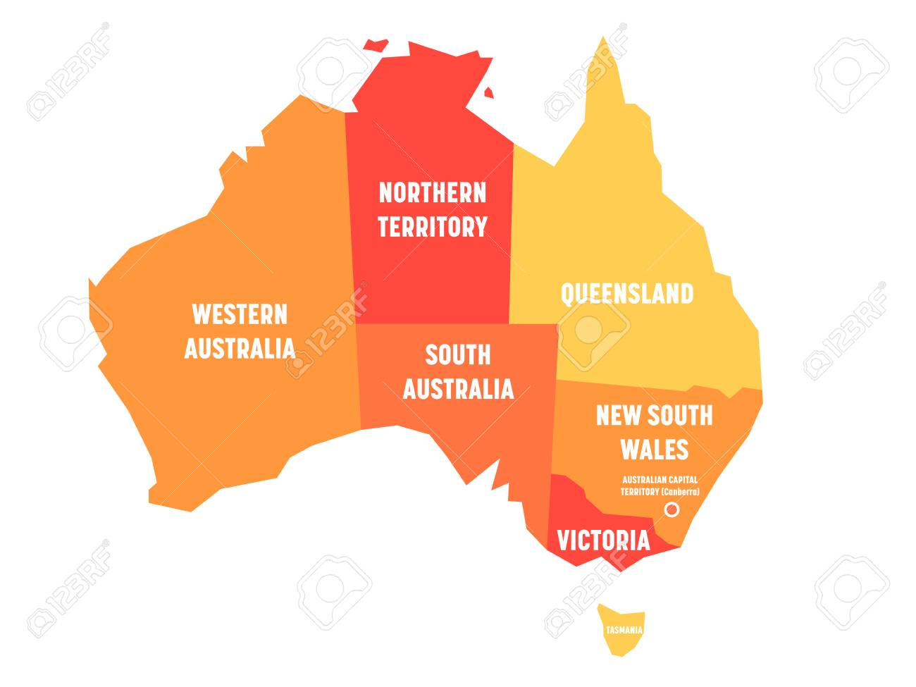 Map Of Australia Showing States.Simplified Map Of Australia Divided Into States And Territories
