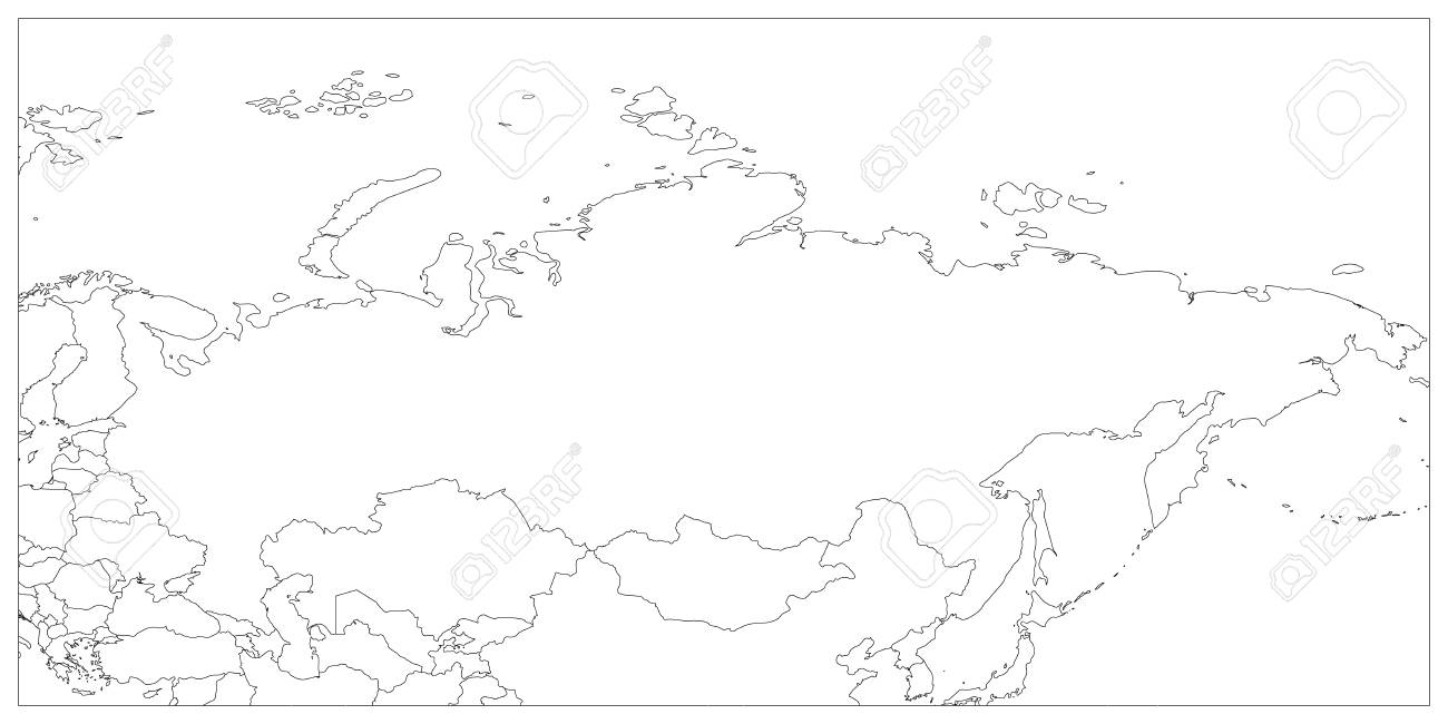 Political map of Russia and surrounding countries. Black thin..