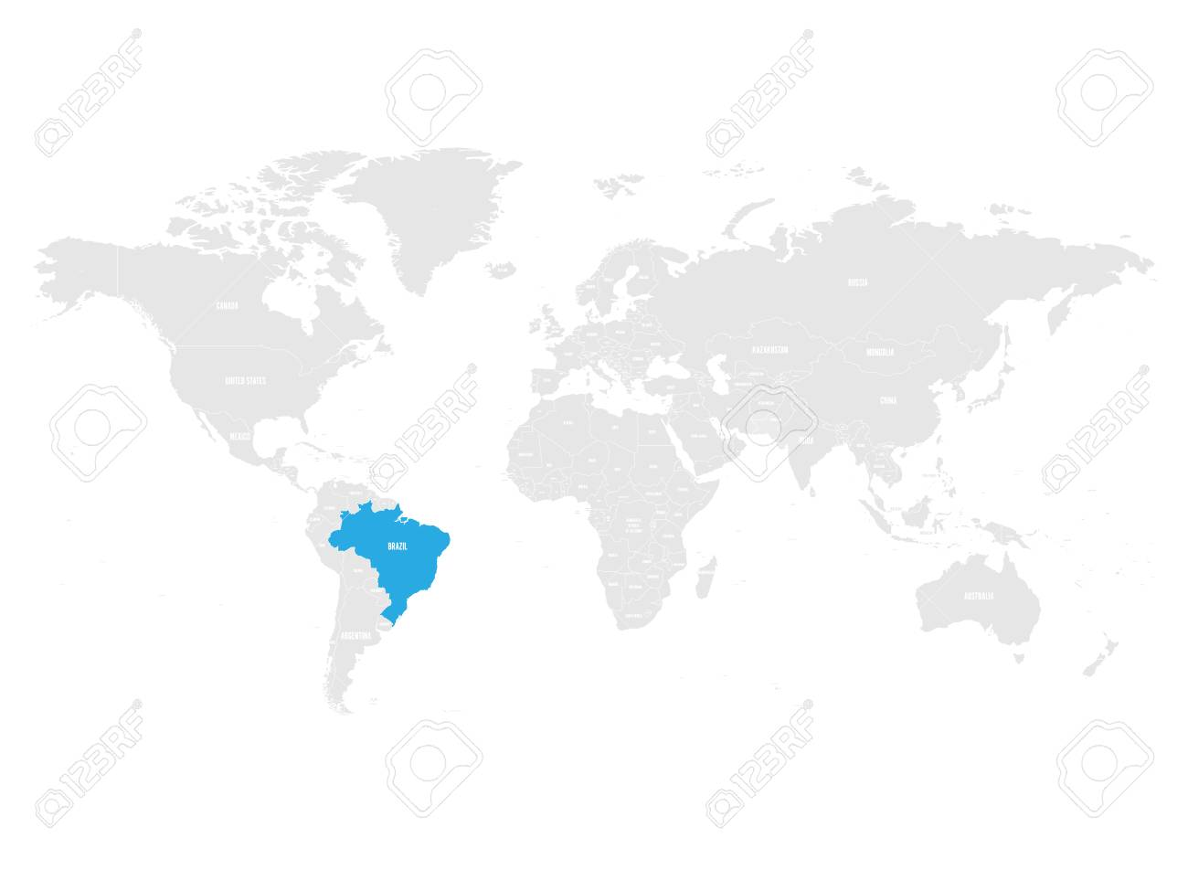 Brazil marked by blue in grey World political map. Vector illustration.