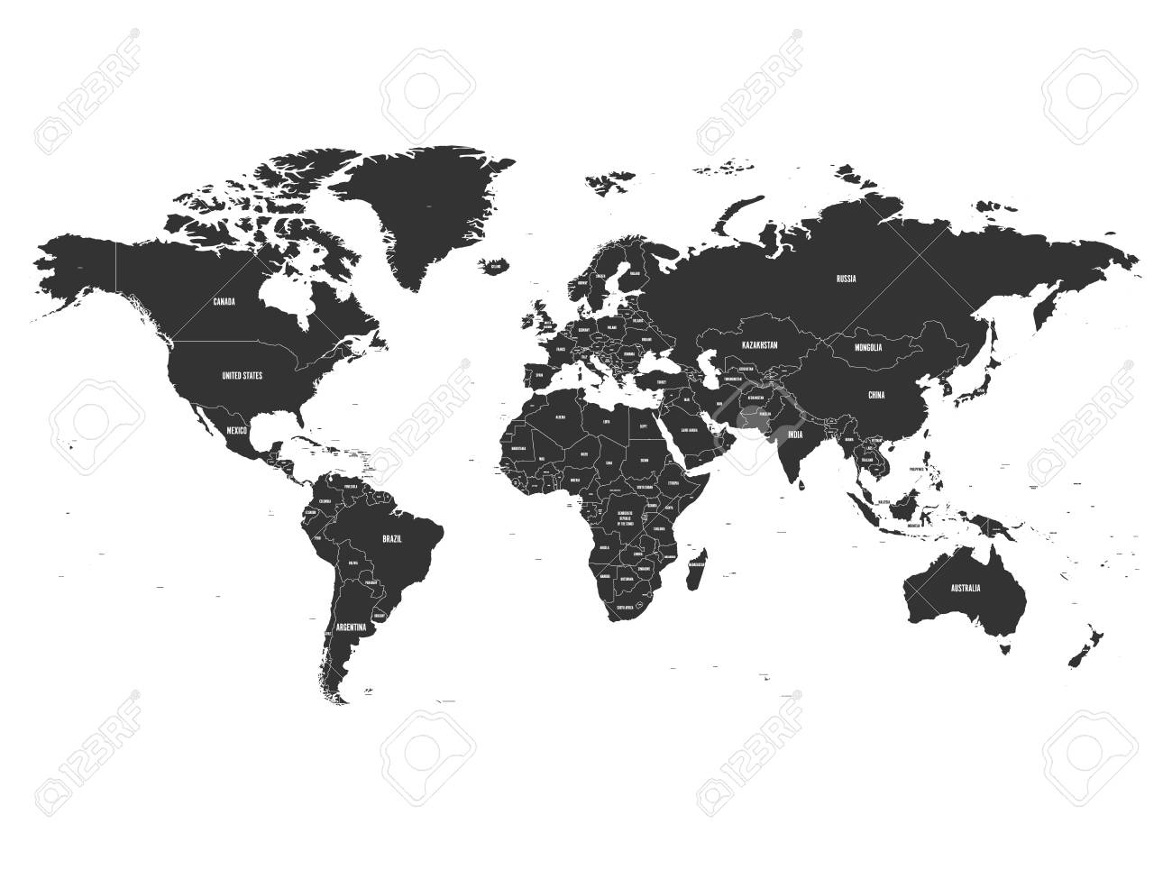 Vector political map of World with state name labeling.