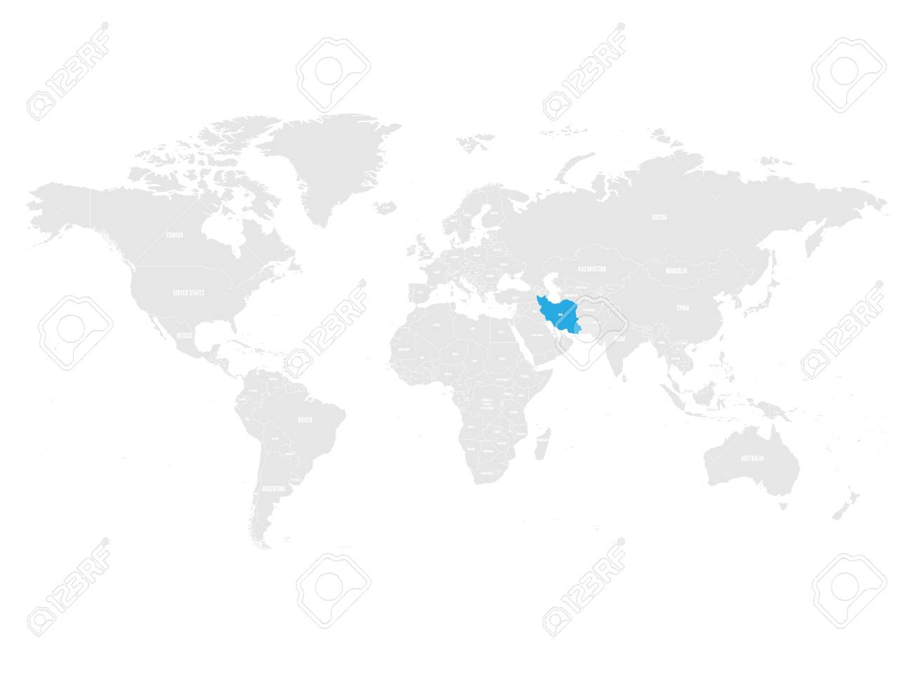 Iran Marked By Blue In Grey World Political Map Vector Illustration