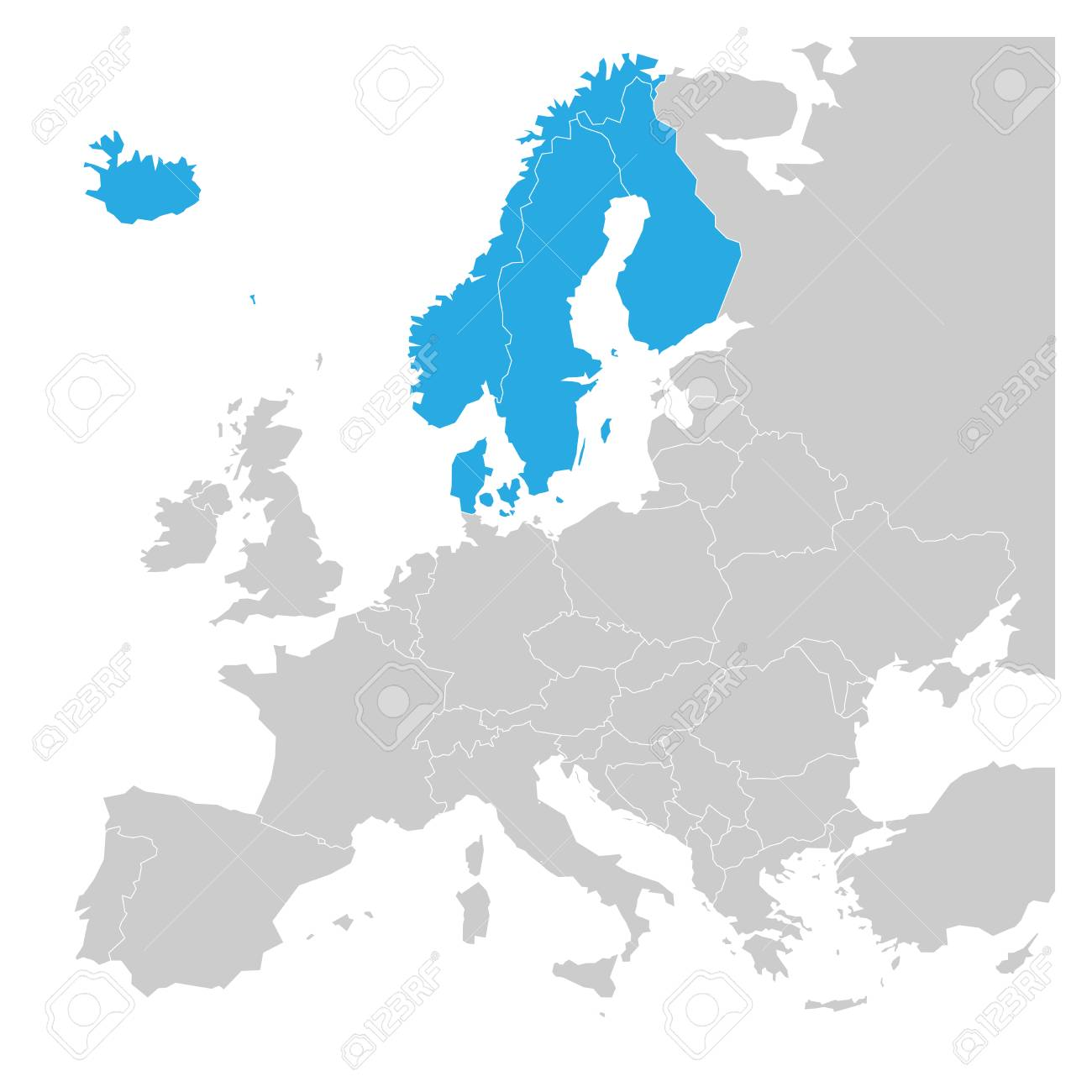 Scandinavian states denmark norway finland sweden and iceland illustration scandinavian states denmark norway finland sweden and iceland blue highlighted in the political map of europe vector illustration gumiabroncs Choice Image
