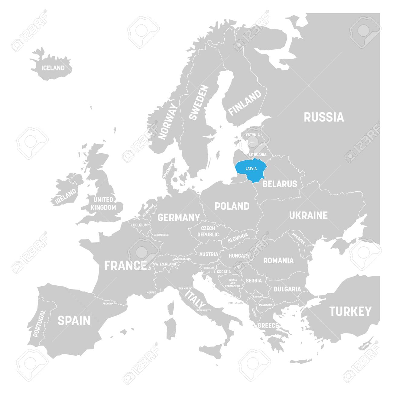 Lithuania On Europe Map.Lithuania Marked By Blue In Grey Political Map Of Europe Vector