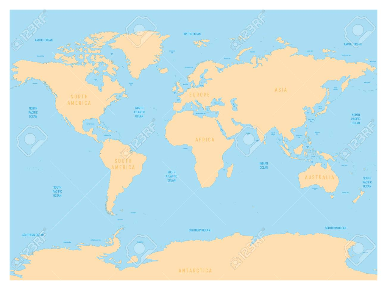Picture of: Hydrological Map Of World With Labels Of Oceans Seas Gulfs Stock Photo Picture And Royalty Free Image Image 90274303