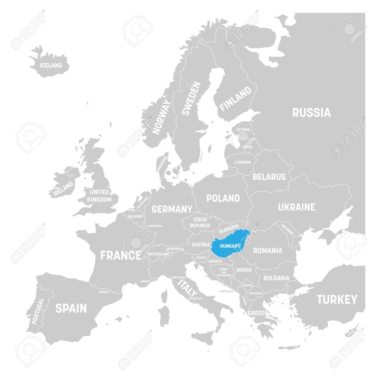 Hungary Political Map.Hungary Marked By Blue In Grey Political Map Of Europe Vector