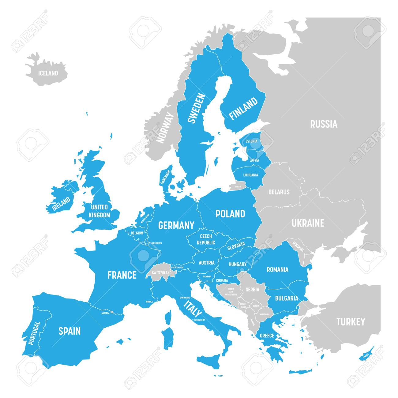 Political map of Europe with blue highlighted 28 European Union,..