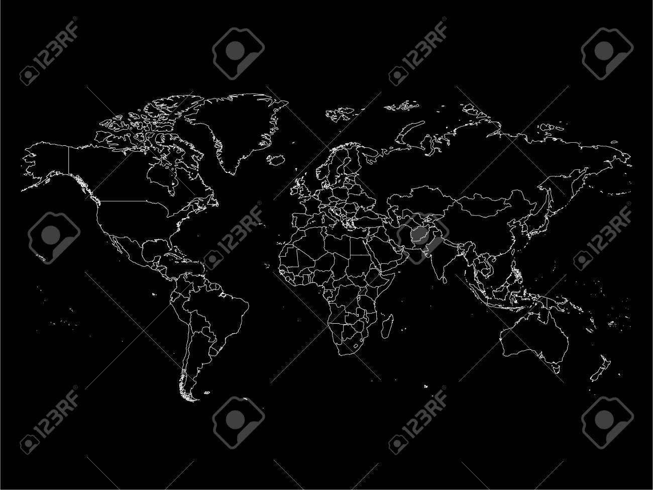 vector world map with country borders thin white outline on black background simple high detail line vector wireframe