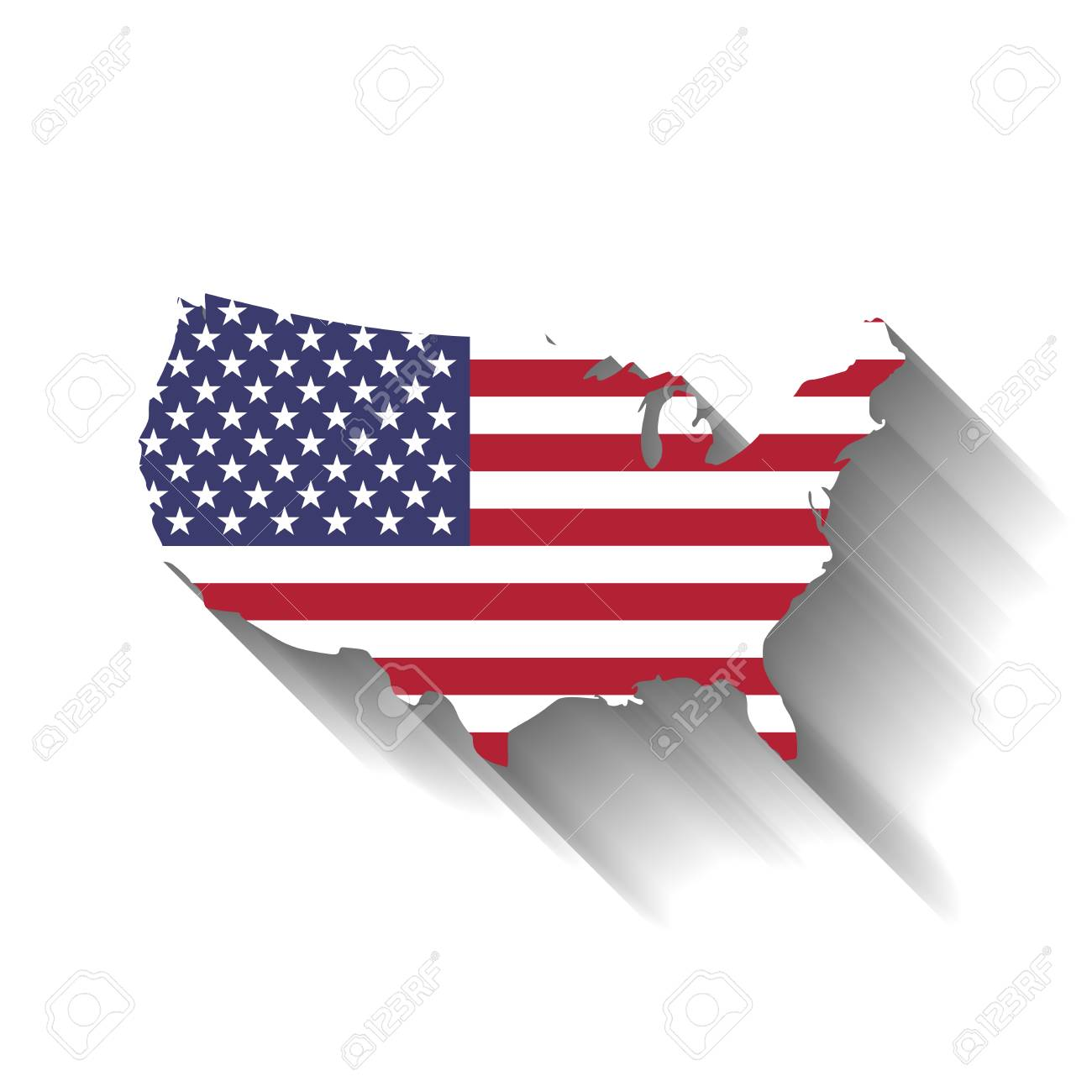 USA Flag In A Shape Of US Map Silhouette. Royalty Free Cliparts ...