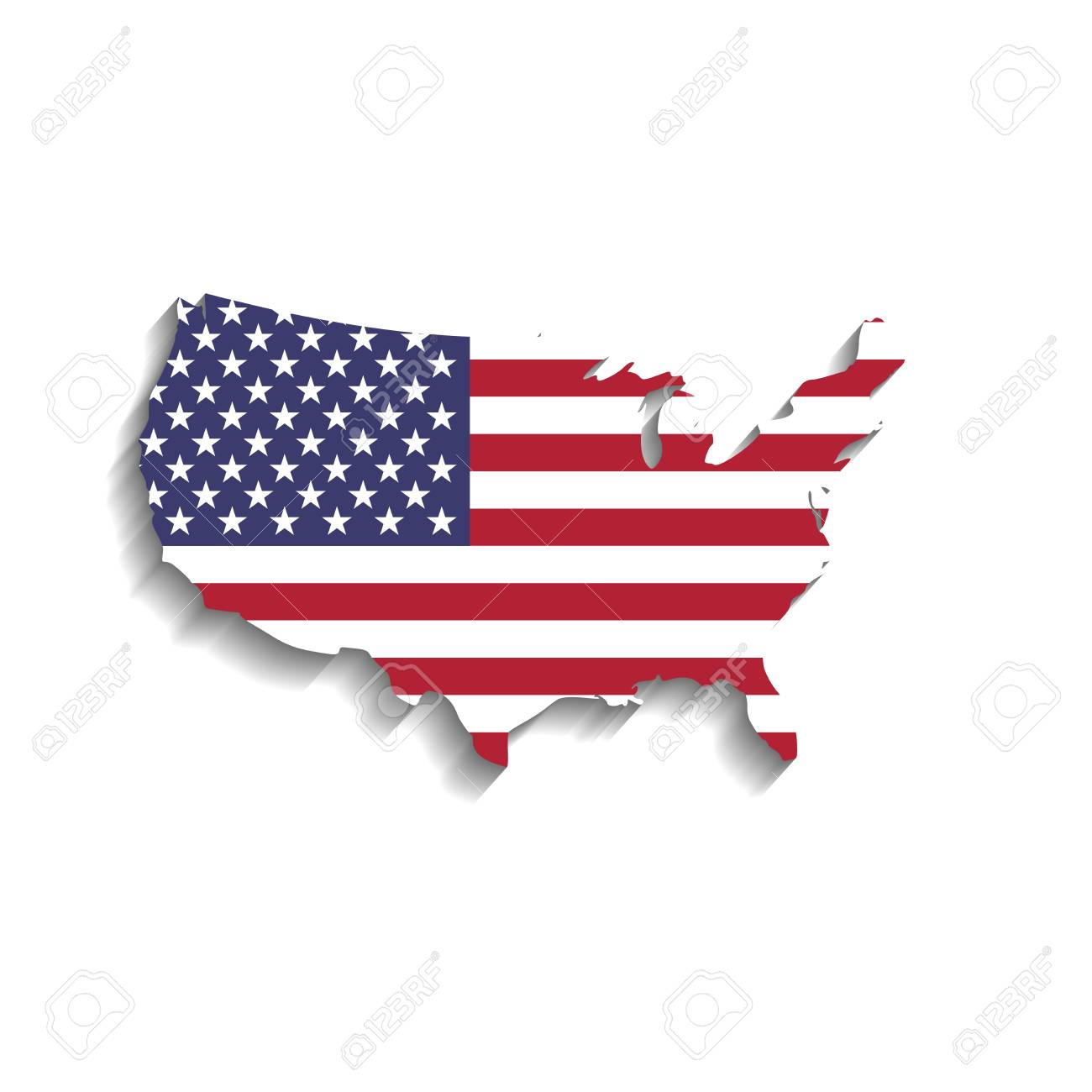 USA Flag In A Shape Of US Map Silhouette. United States Of America ...