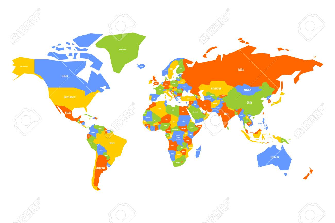 simplified vector world map Colorful Map Of World Simplified Map With Country Name Labels