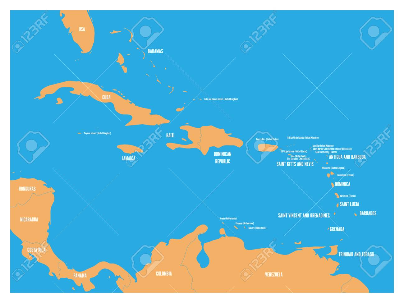 Central America and Carribean states political map. Yellow land..