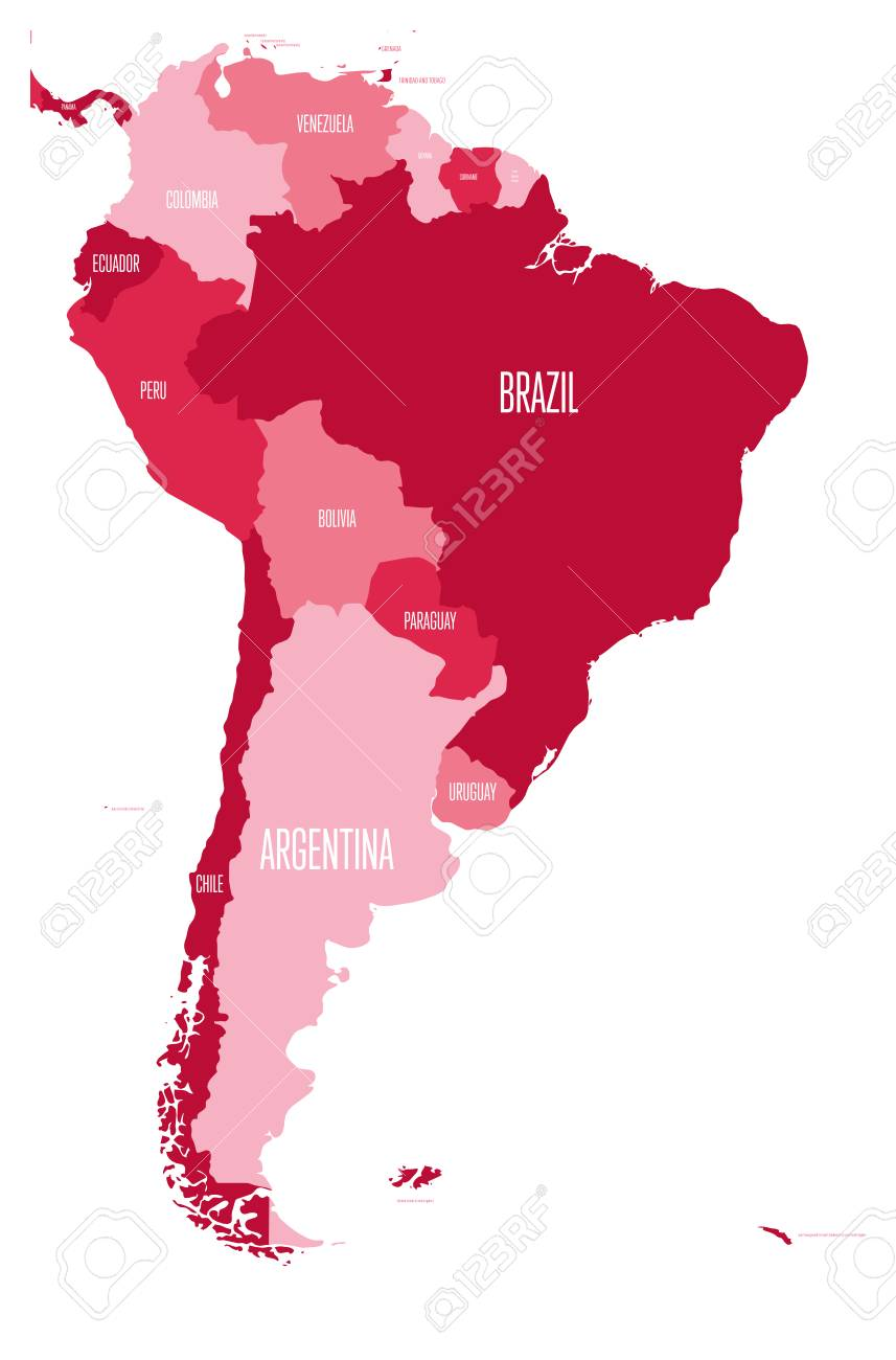 Political map of South America. Simple flat vector map with country..