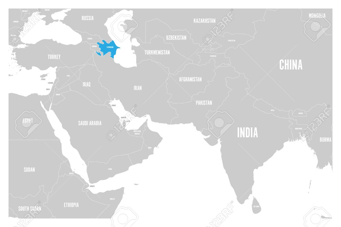 Azerbaijan Blue Marked In Political Map Of South Asia And Middle