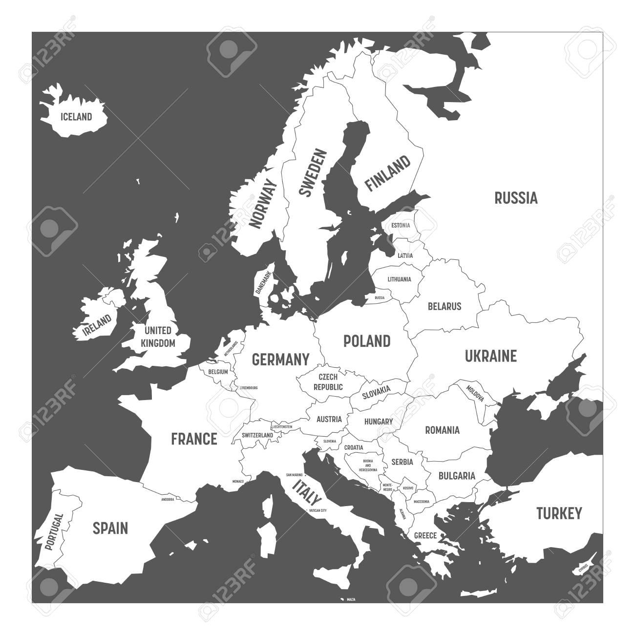 Mapa De Europa En Blanco Con Nombres.Mapa De Europa Con Nombres De Paises Soberanos Ministatos Incluidos Mapa Blanco Simplificado Del Vector En Fondo Gris