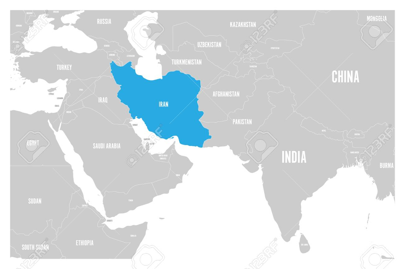 Iran Blue Marked In Political Map Of South Asia And Middle East