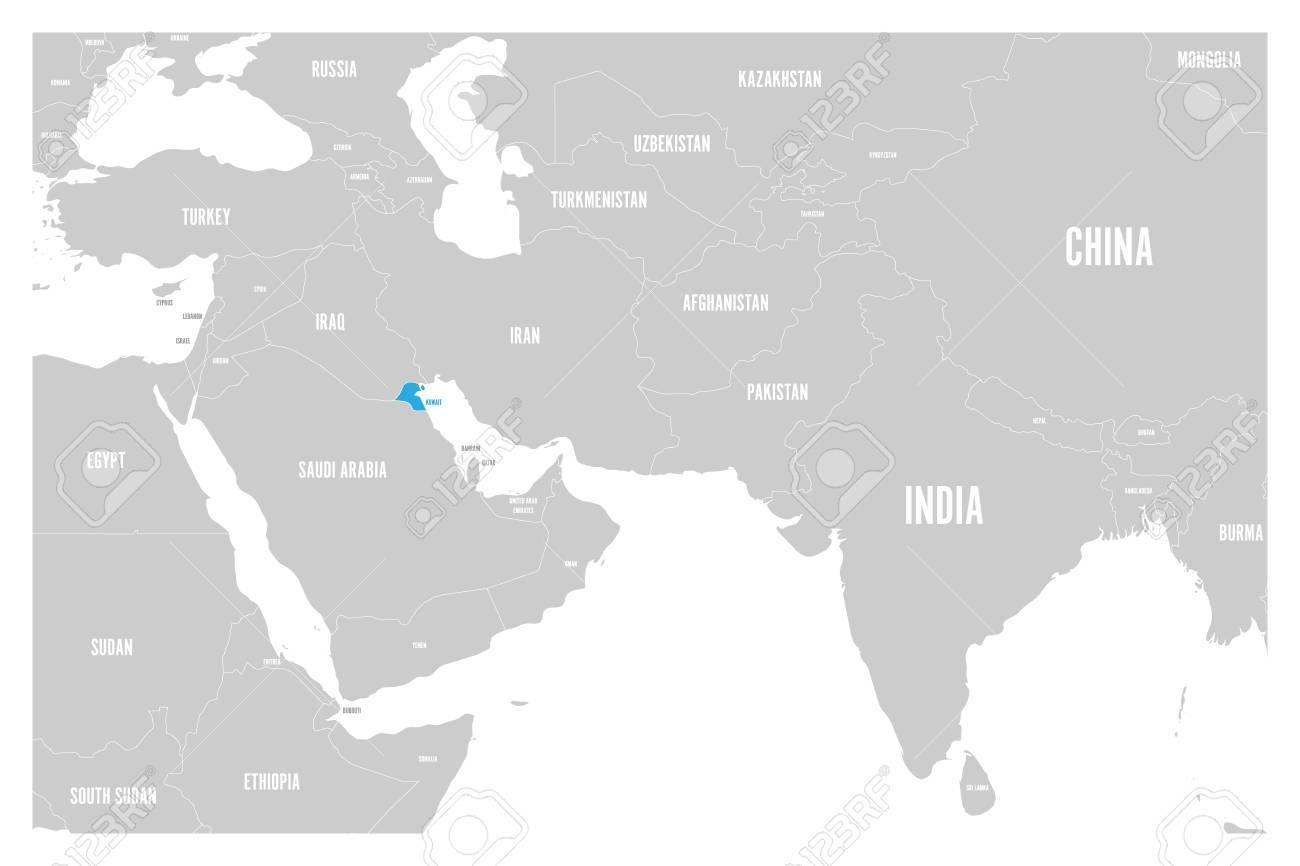 Kuwait blue marked in political map of South Asia and Middle