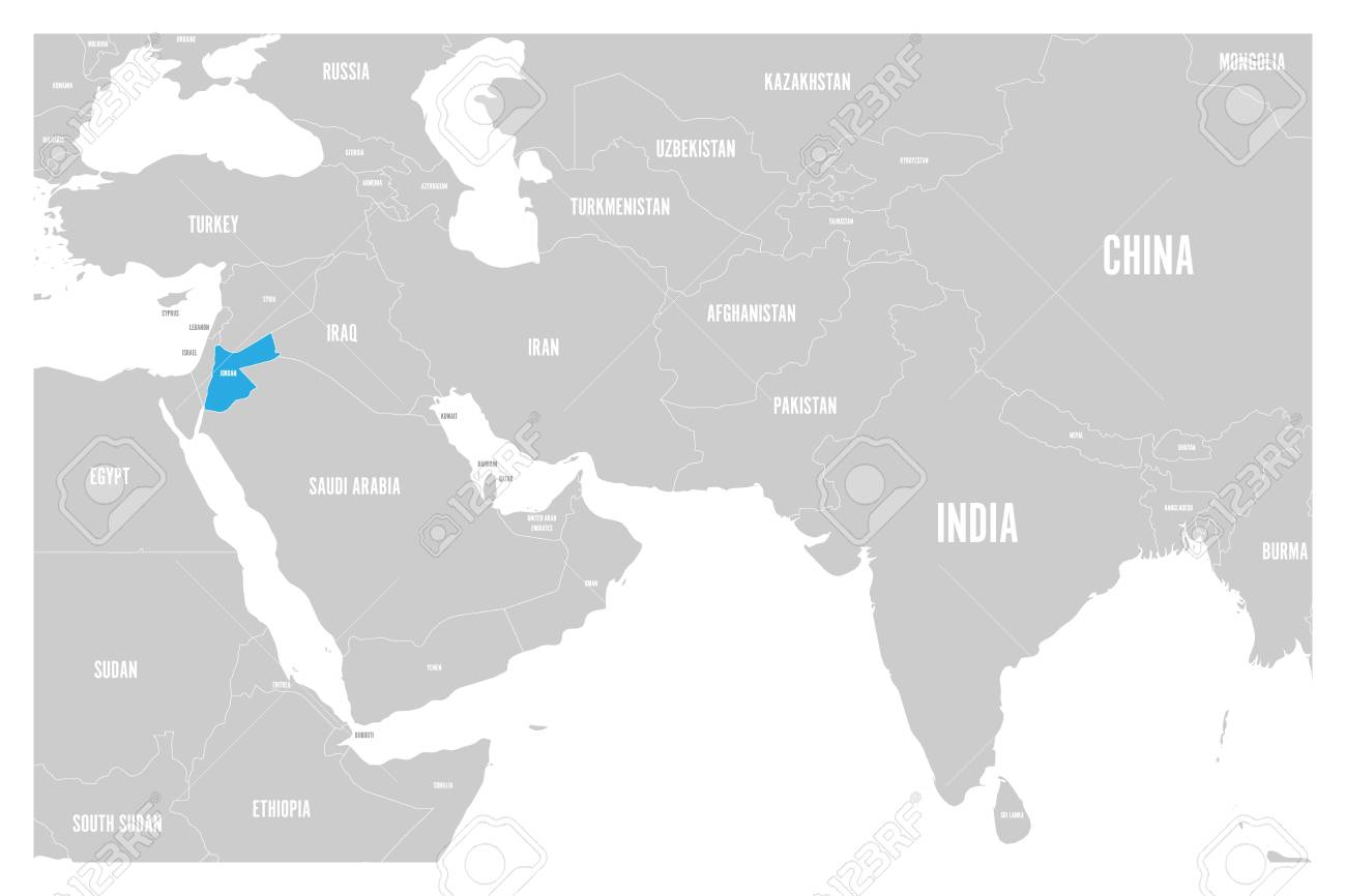 Map Of Asia Jordan.Jordan Blue Marked In Political Map Of South Asia And Middle