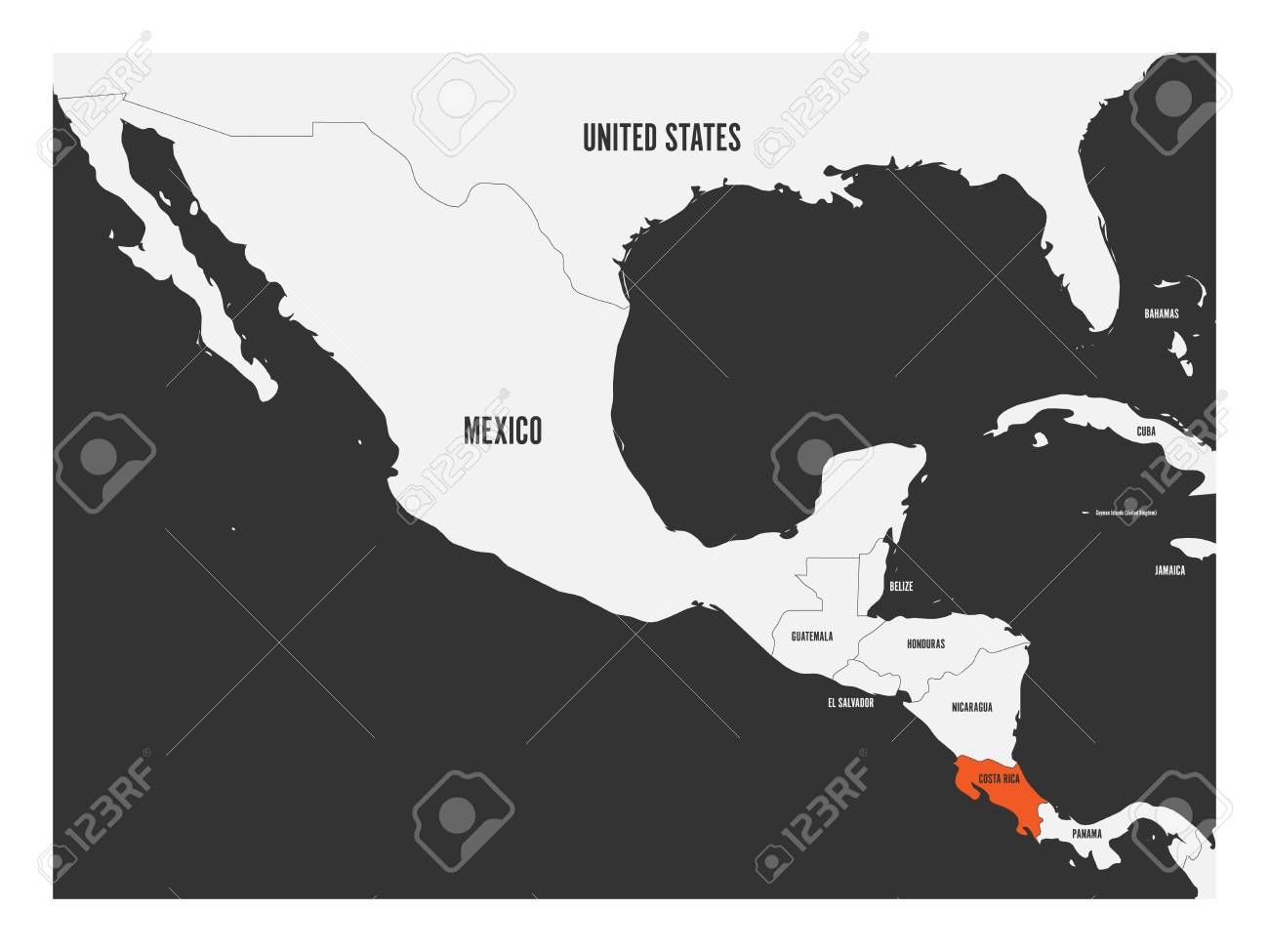 Costa Rica Orange Marked In Political Map Of Central America