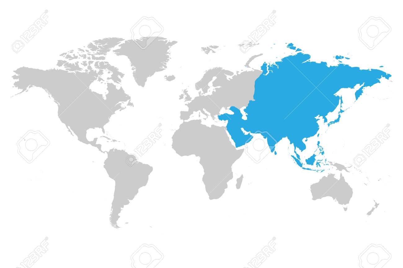 Asia On A Map Of The World.Asia Continent Blue Marked In Gray Silhouette Of World Map Simple