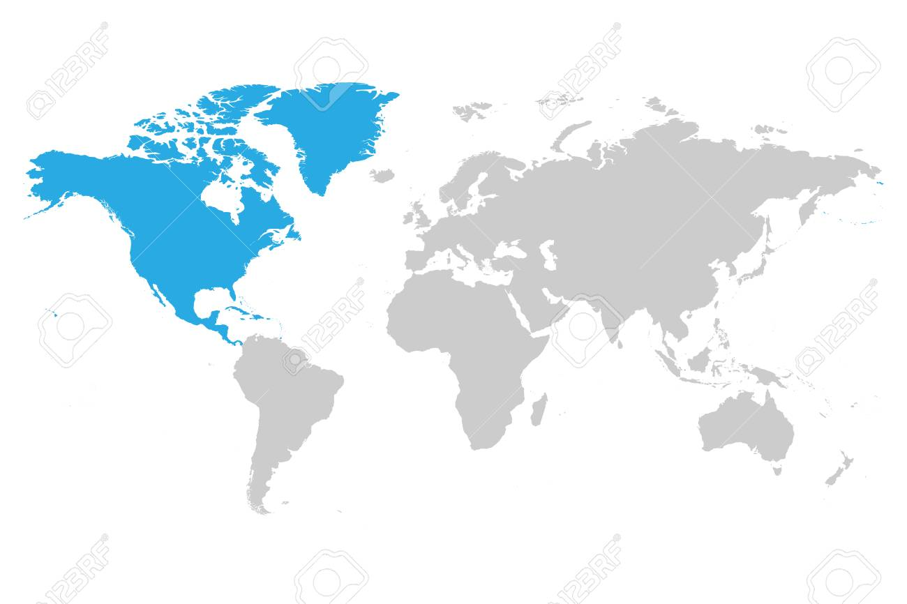 North America Continent Blue Marked In Grey Silhouette Of World