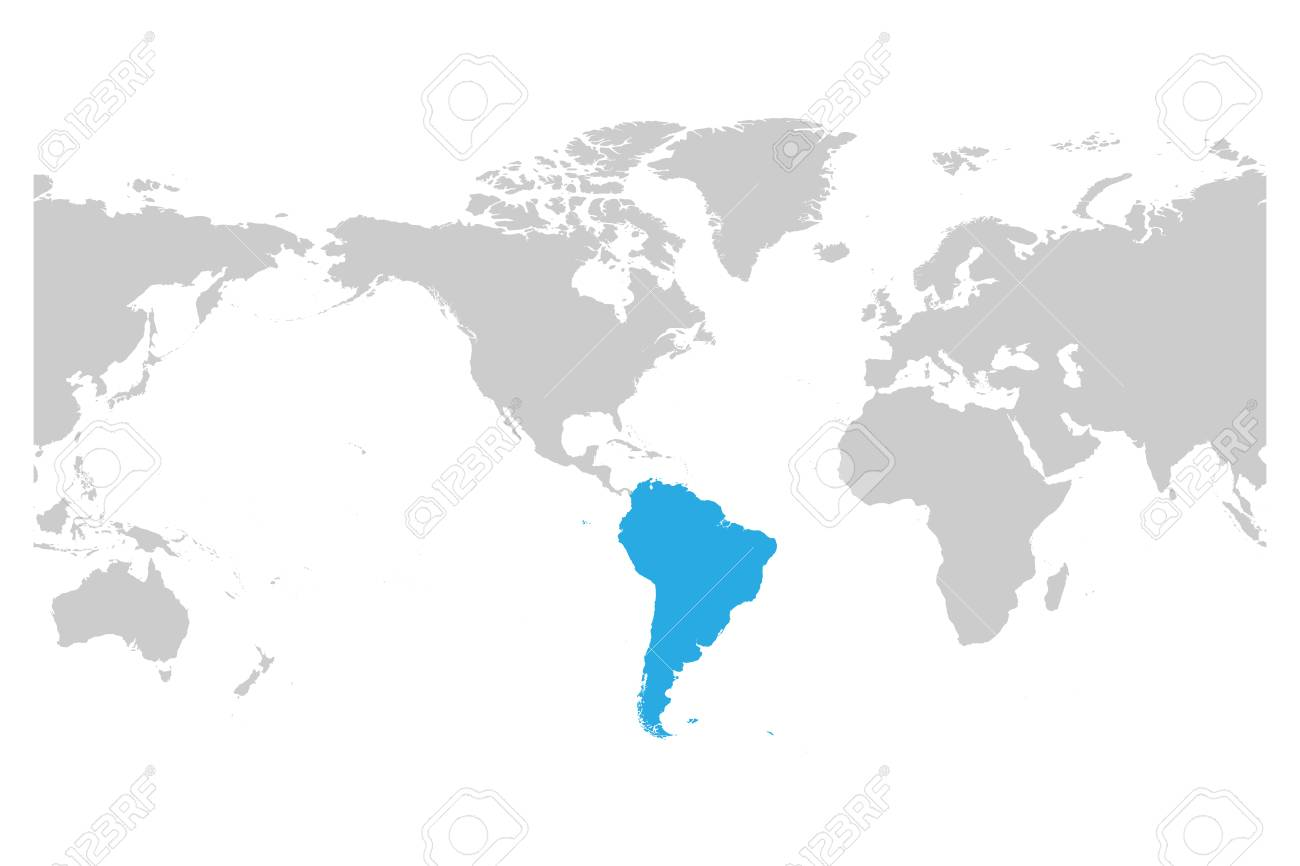 Picture of: South America Continent Blue Marked In Grey Silhouette Of World Royalty Free Cliparts Vectors And Stock Illustration Image 92934341